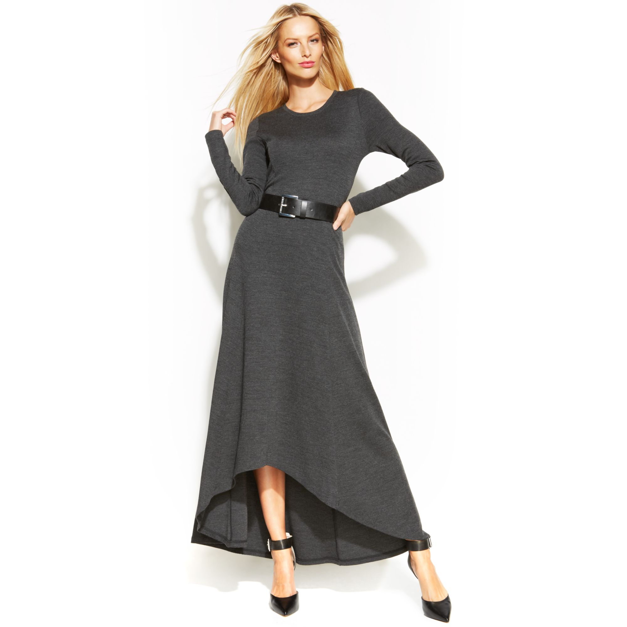 michael kors michael belted highlow maxi dress in gray lyst