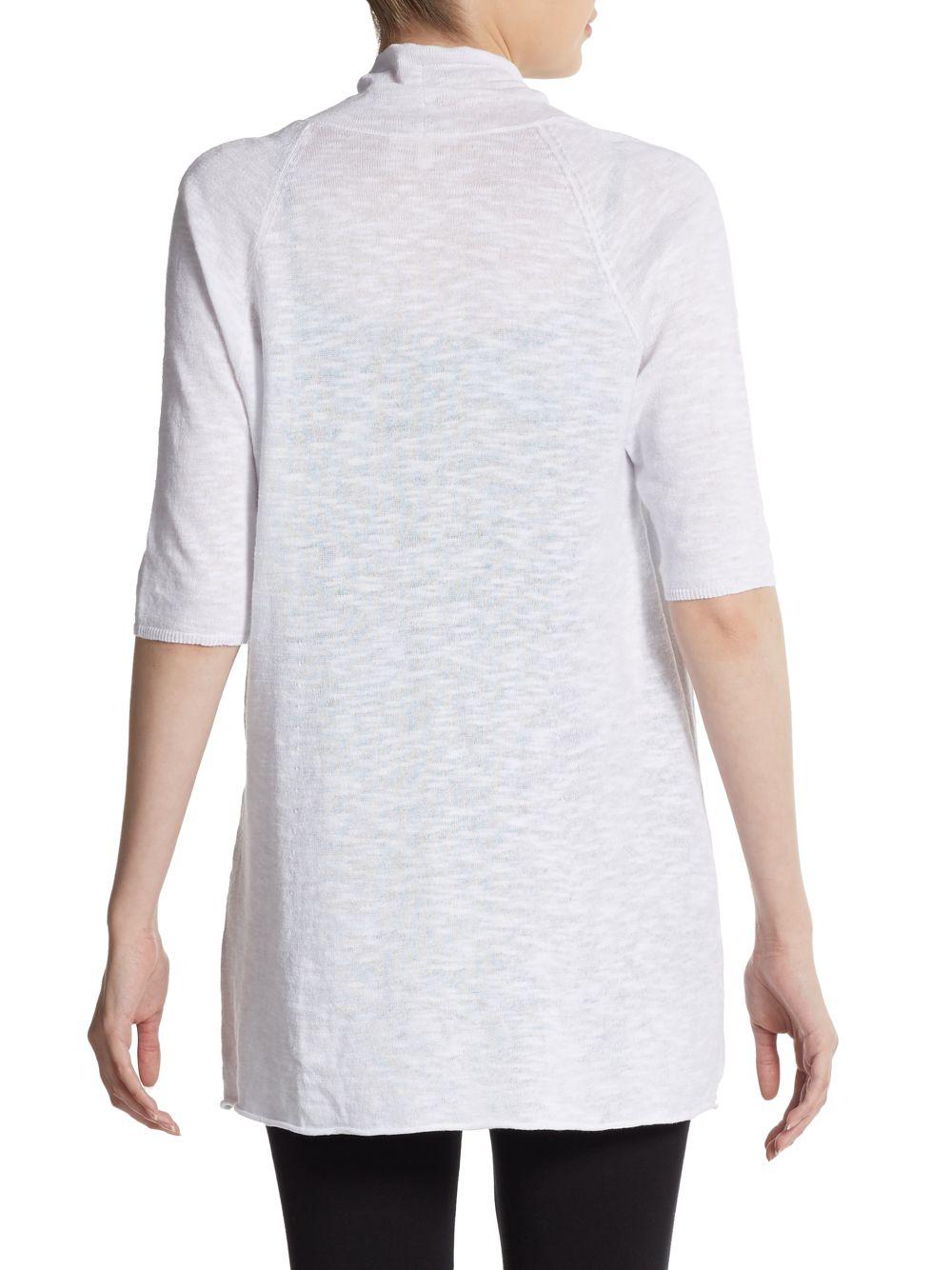 Lyst Eileen Fisher Slub Knit Open Cardigan In White