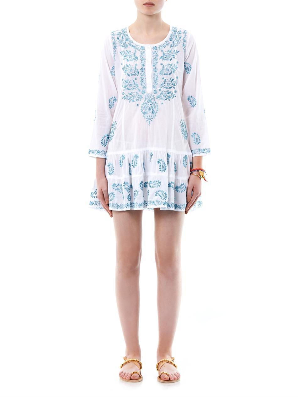 Lyst Juliet Dunn Embroidered Cotton Kaftan In Blue