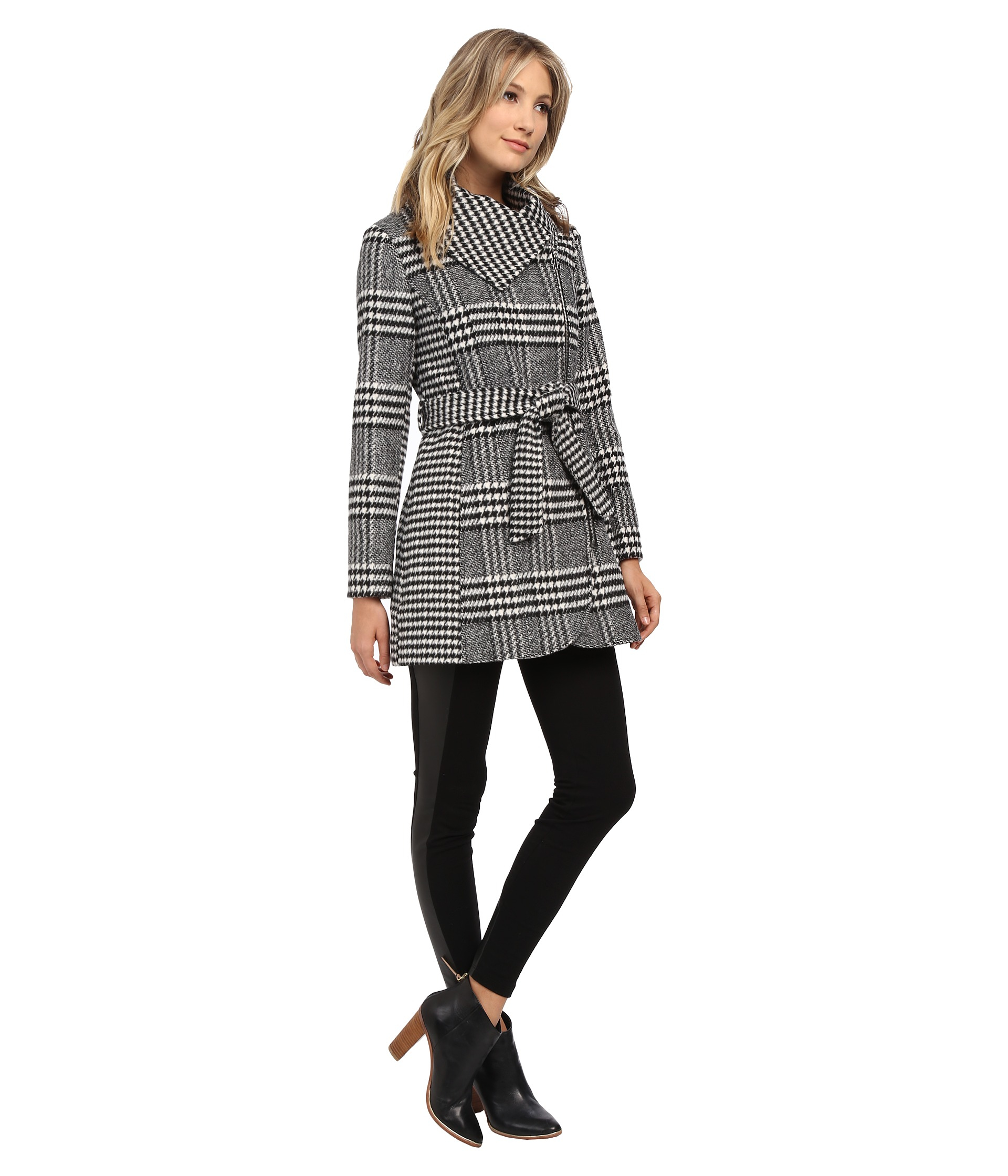 Jessica Simpson Glen Plaid Houndstooth Coat With Belt In