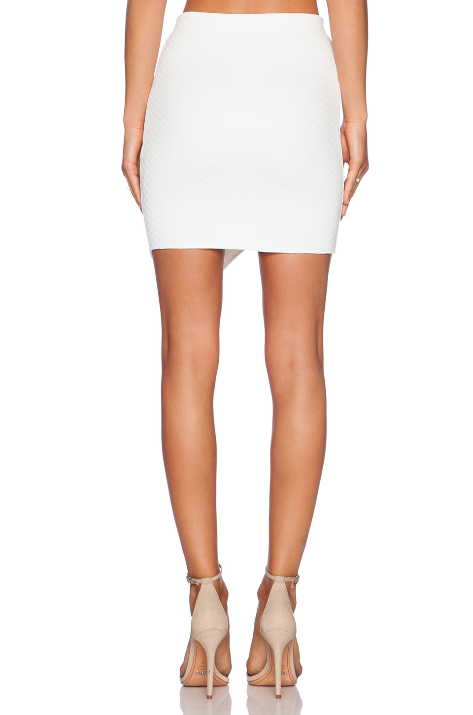 889f147408 Donna Mizani Quilted Cross Over Mini Skirt in White - Lyst