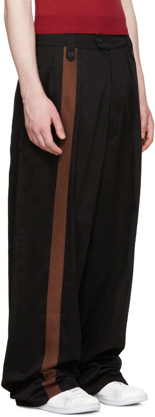 Raf Simons Cotton Black Wide-leg Band Trousers for Men