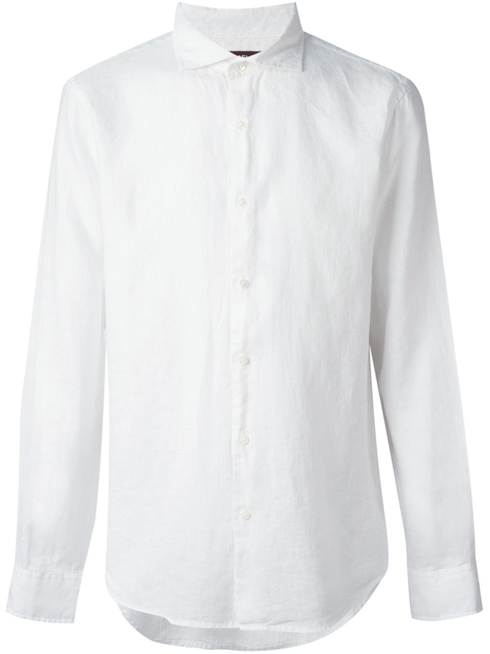Michael kors spread collar shirt in white for men lyst for What is a spread collar shirt