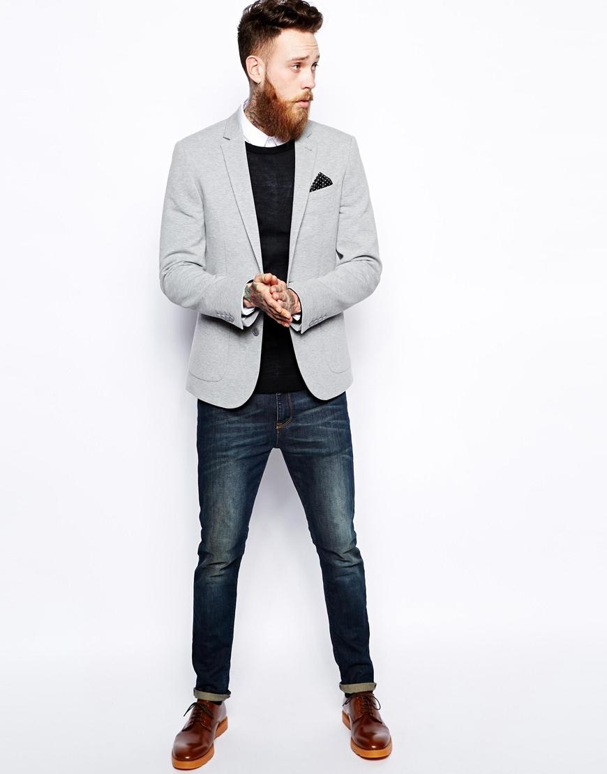 asos slim fit blazer in jersey in gray for men lyst. Black Bedroom Furniture Sets. Home Design Ideas