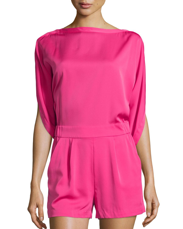 3332d906a47 Lyst - Diane von Furstenberg Soleil Dolman-sleeve Silk Romper in Pink
