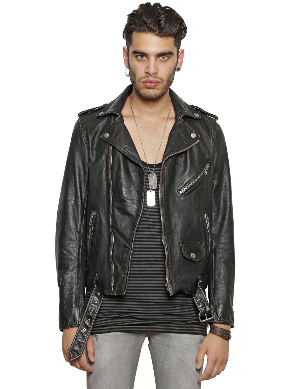 Diesel Vintage Leather Moto Jacket in Black for Men