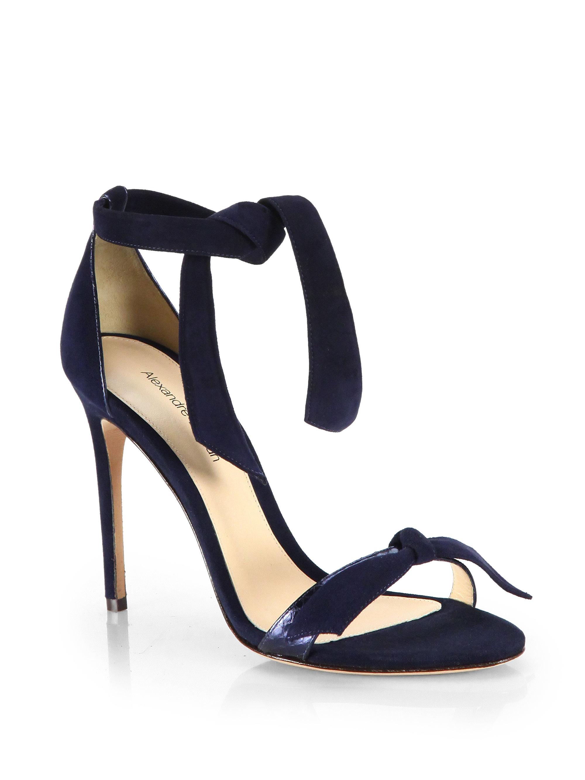 a171c17ca Lyst - Alexandre Birman Snakeskin   Suede Ankle-Tie Sandals in Blue