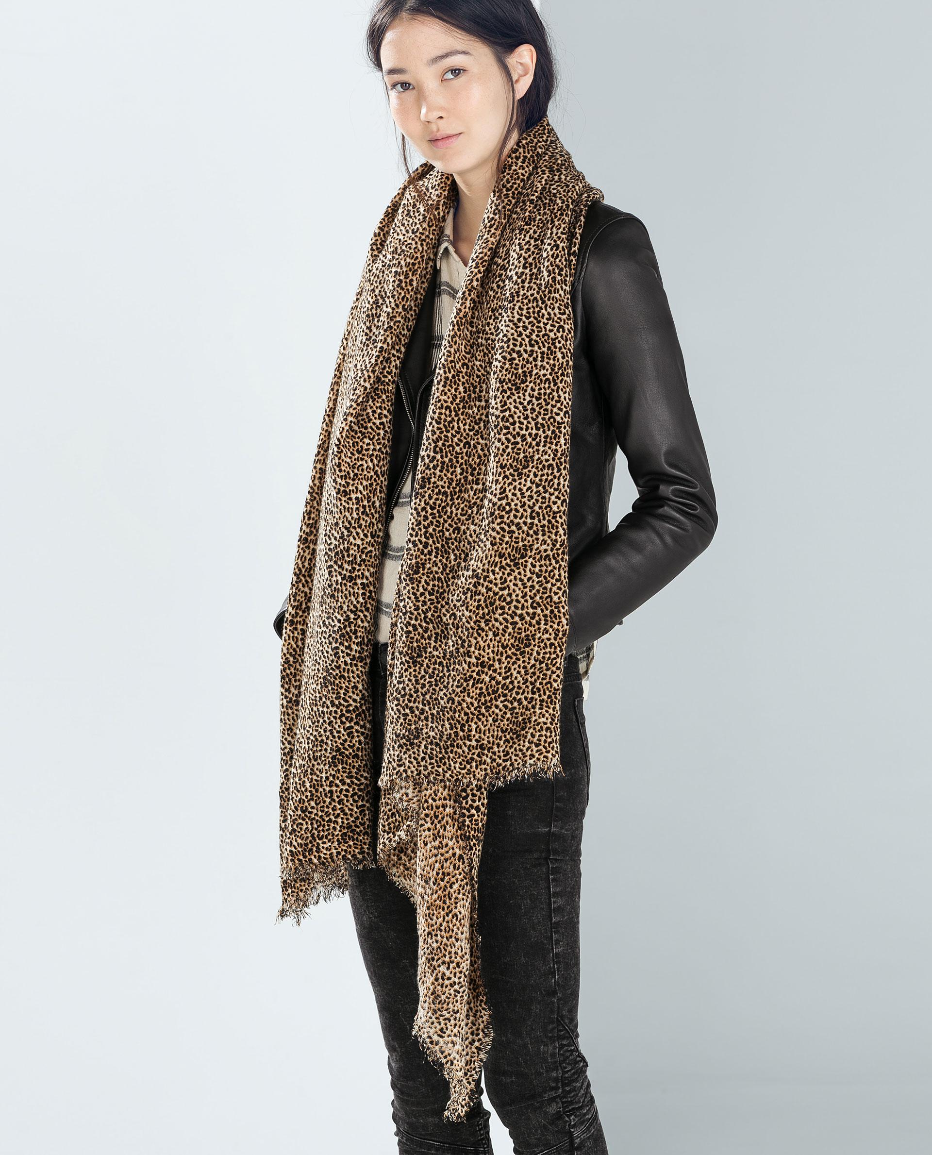 zara animal print scarf in brown leopardo lyst