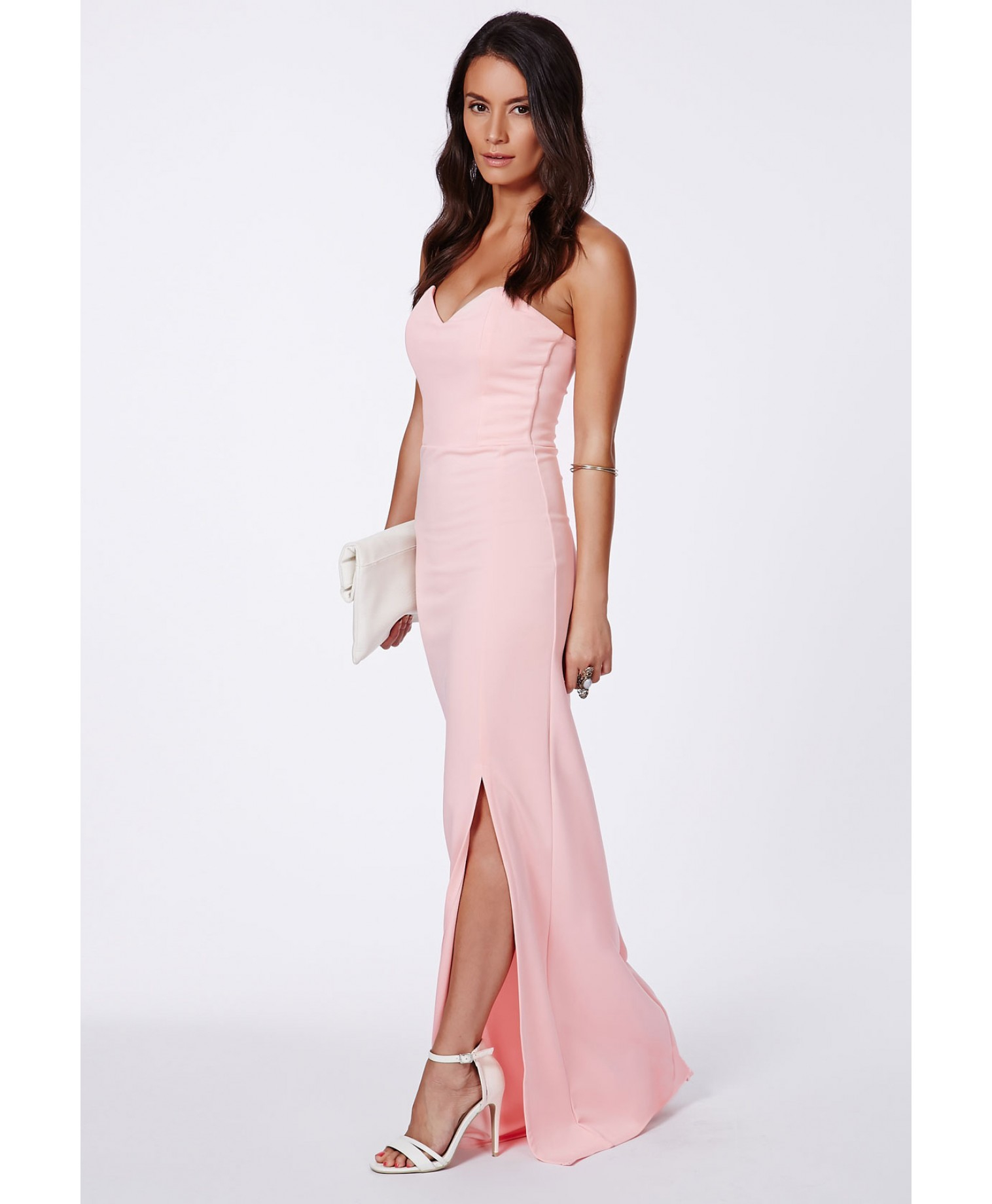 Missguided Neomi Blush Sweetheart Bandeau Bodycon Maxi Dress in ...