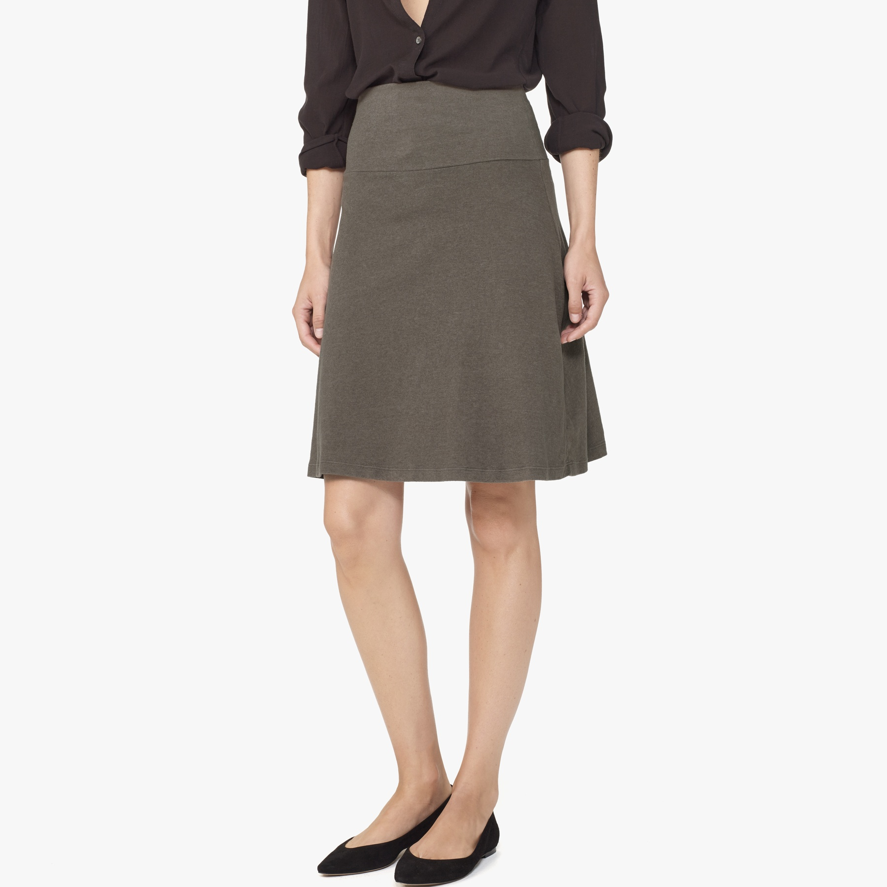 James perse A-line Brushed Jersey Skirt in Gray | Lyst