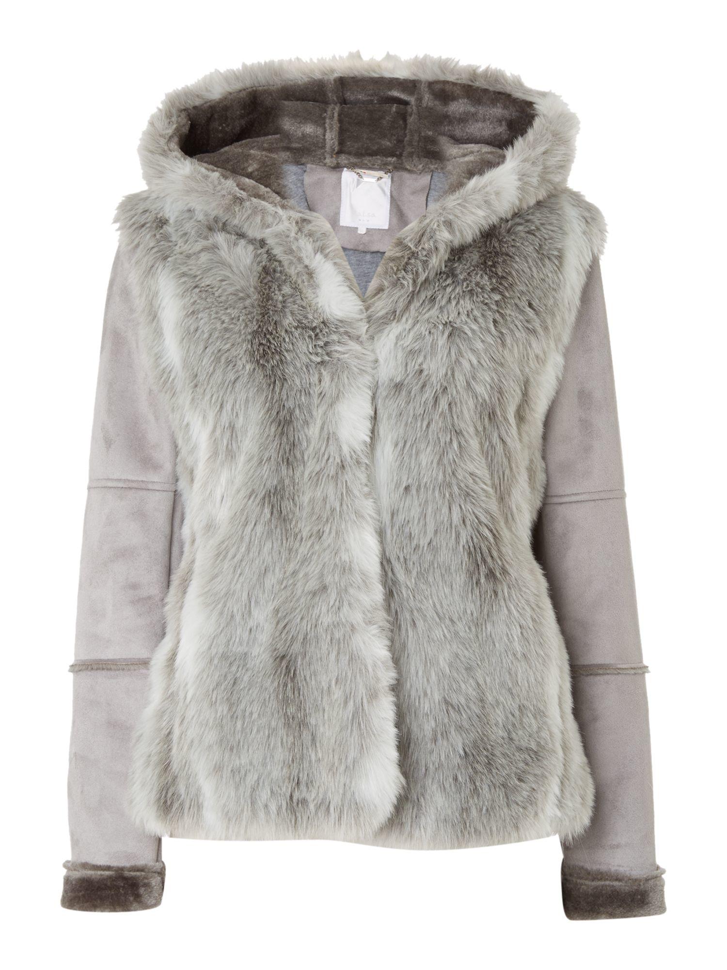 Salsa Chamonix Faux Fur Hooded Jacket in Gray | Lyst
