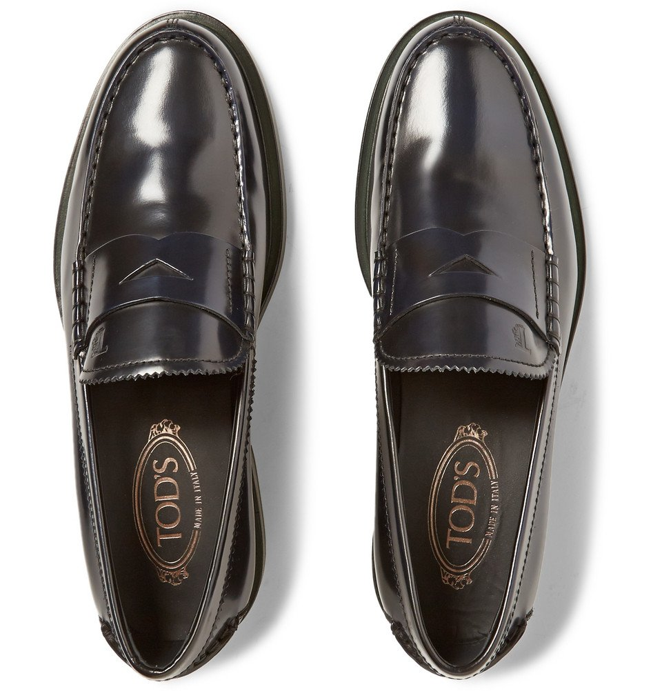 Lyst - Tod'S Polished-Leather Penny Loafers in Black for Men