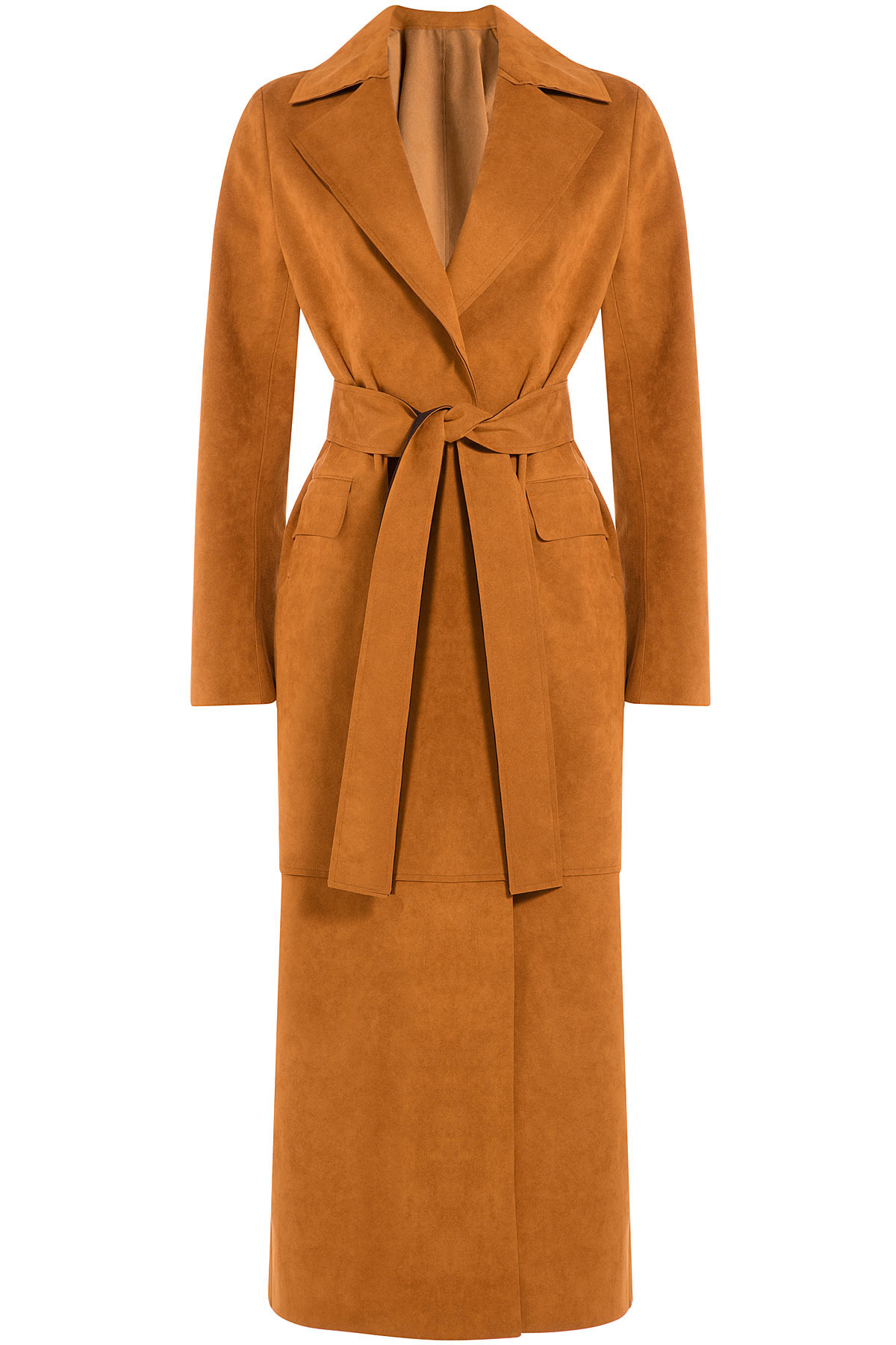 Msgm Long Tailored Coat Camel In Brown Lyst