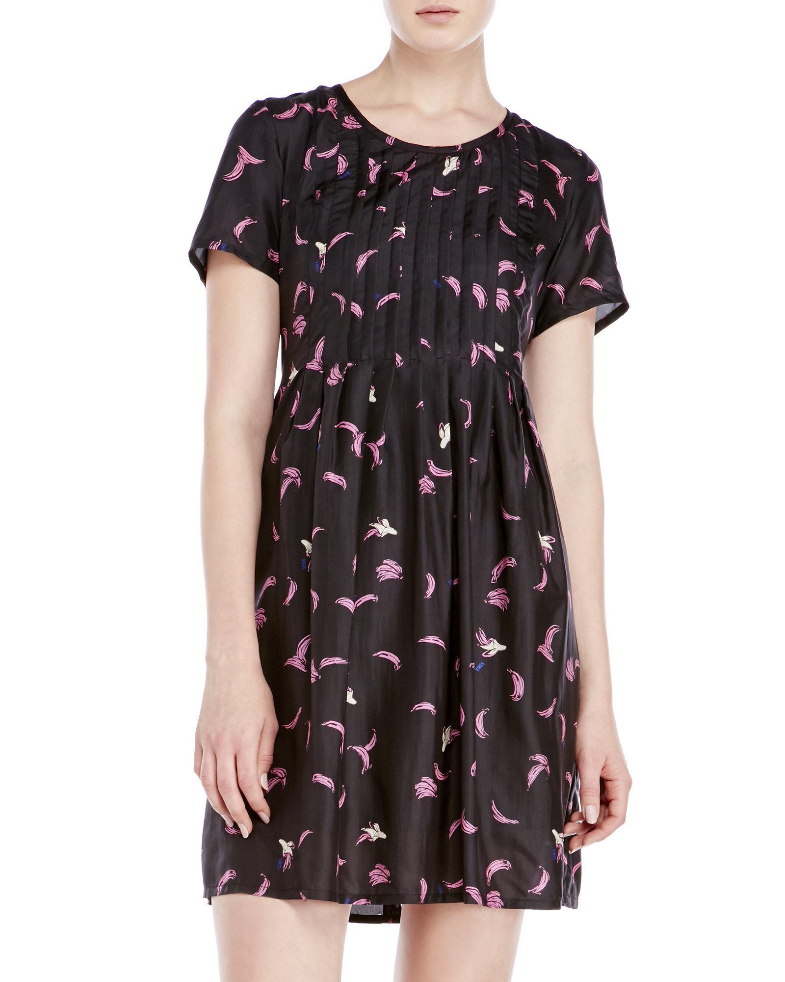Dress Rykiel Banana Print By In Black Silk Sonia Lyst Pleated yvwOP8mNn0