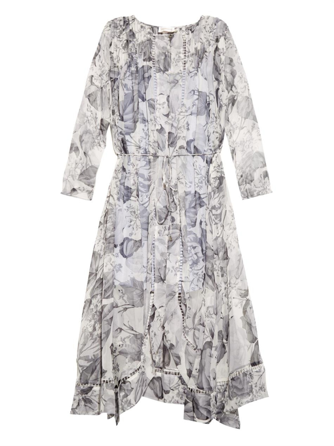 Zimmermann Seer Floral Print Silk Dress In Gray Lyst