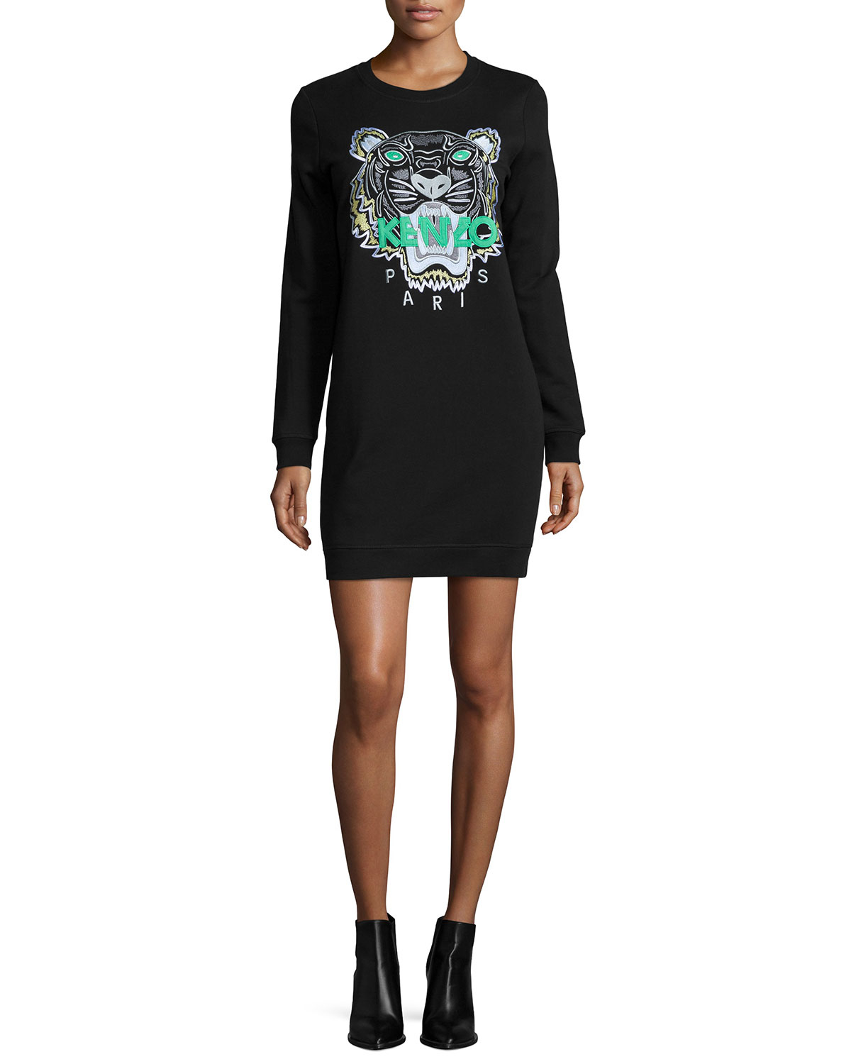 Kenzo Embroidered Tiger Sweater Dress In Black Lyst