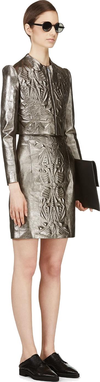 Iris Van Herpen Pewter Cropped Embossed Leather Jacket In