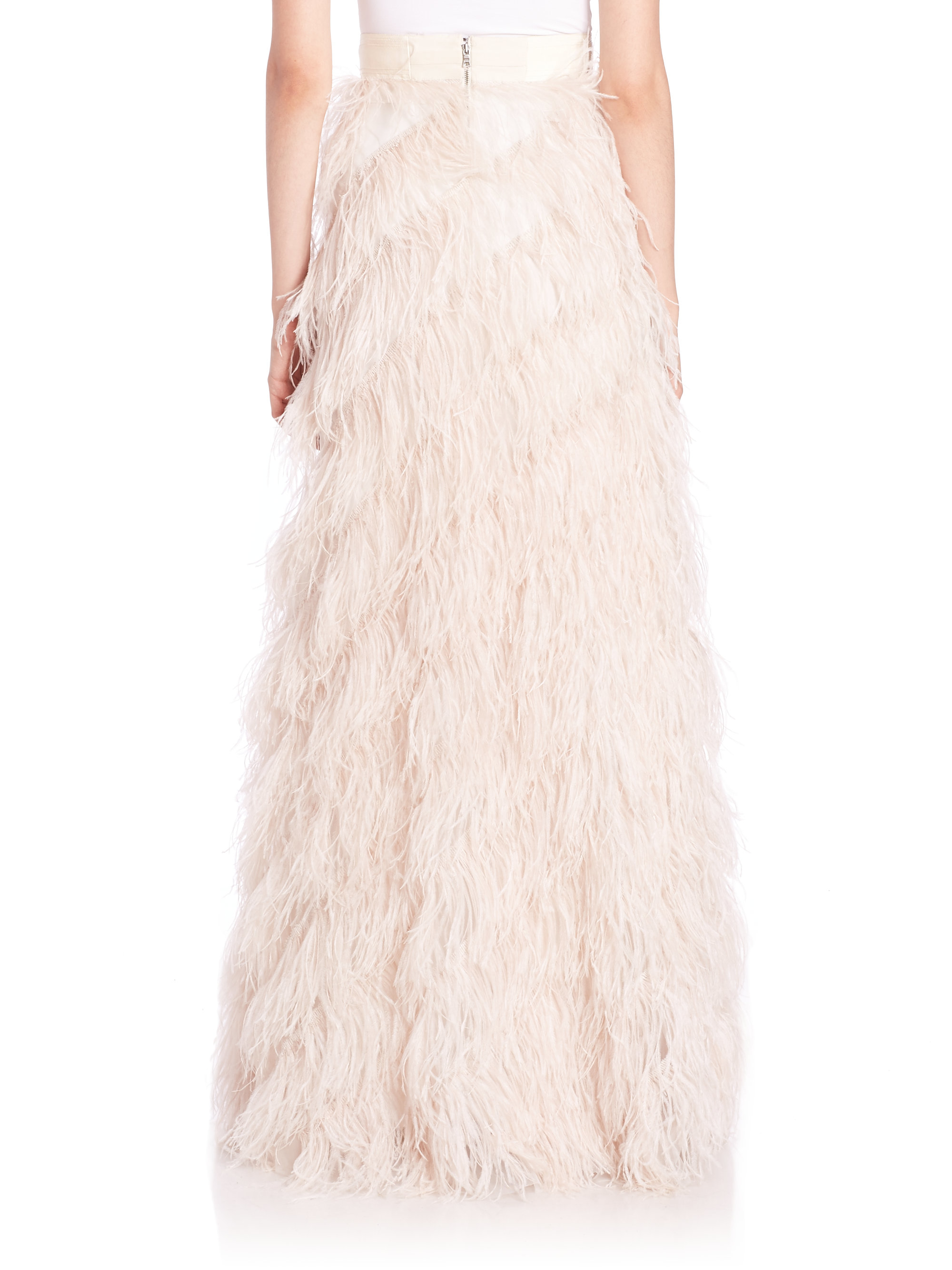 Alice   olivia Sherelle Feather Maxi Skirt in White | Lyst