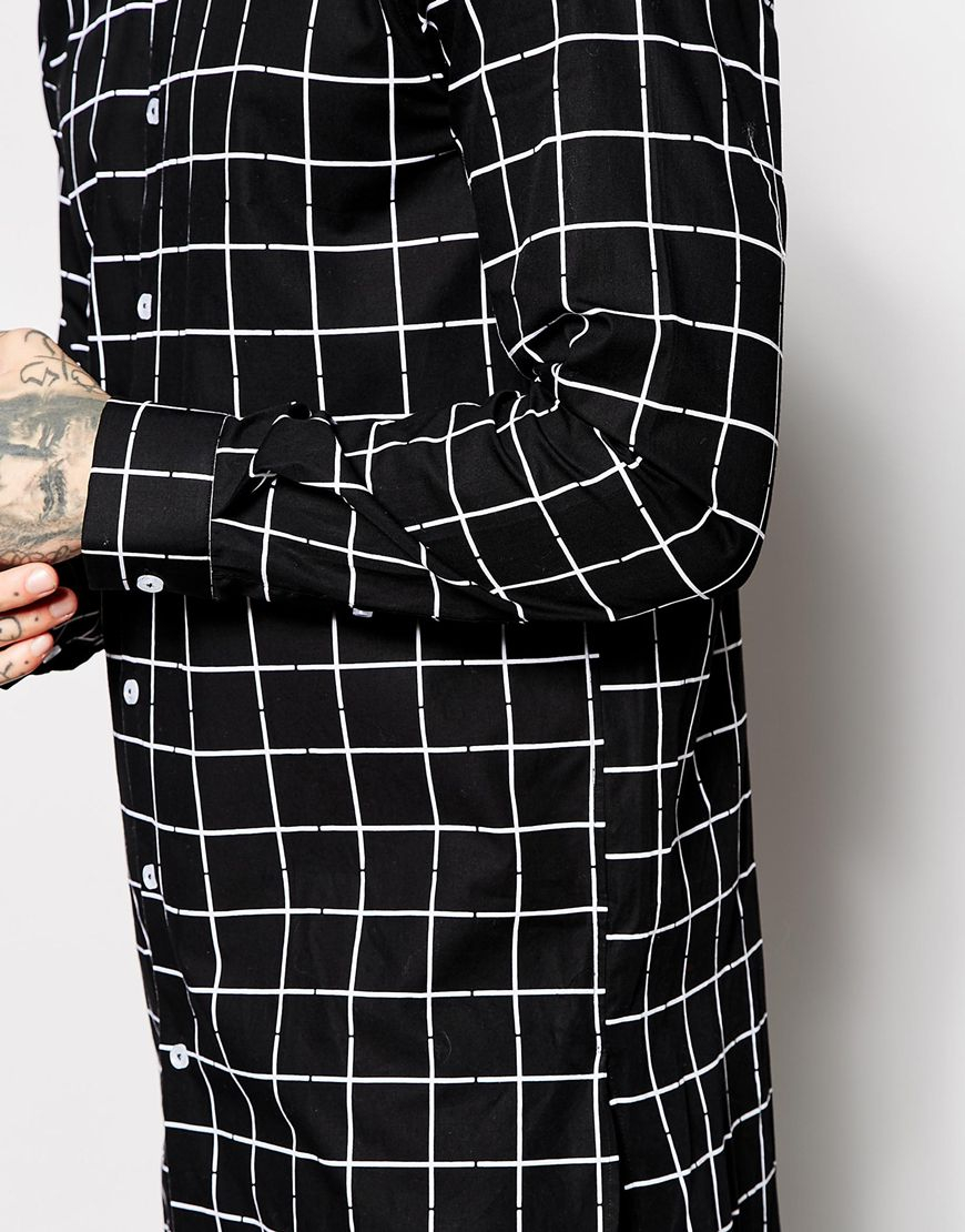 Asos Smart Shirt In Longline With Large Grid Check in Black for ...