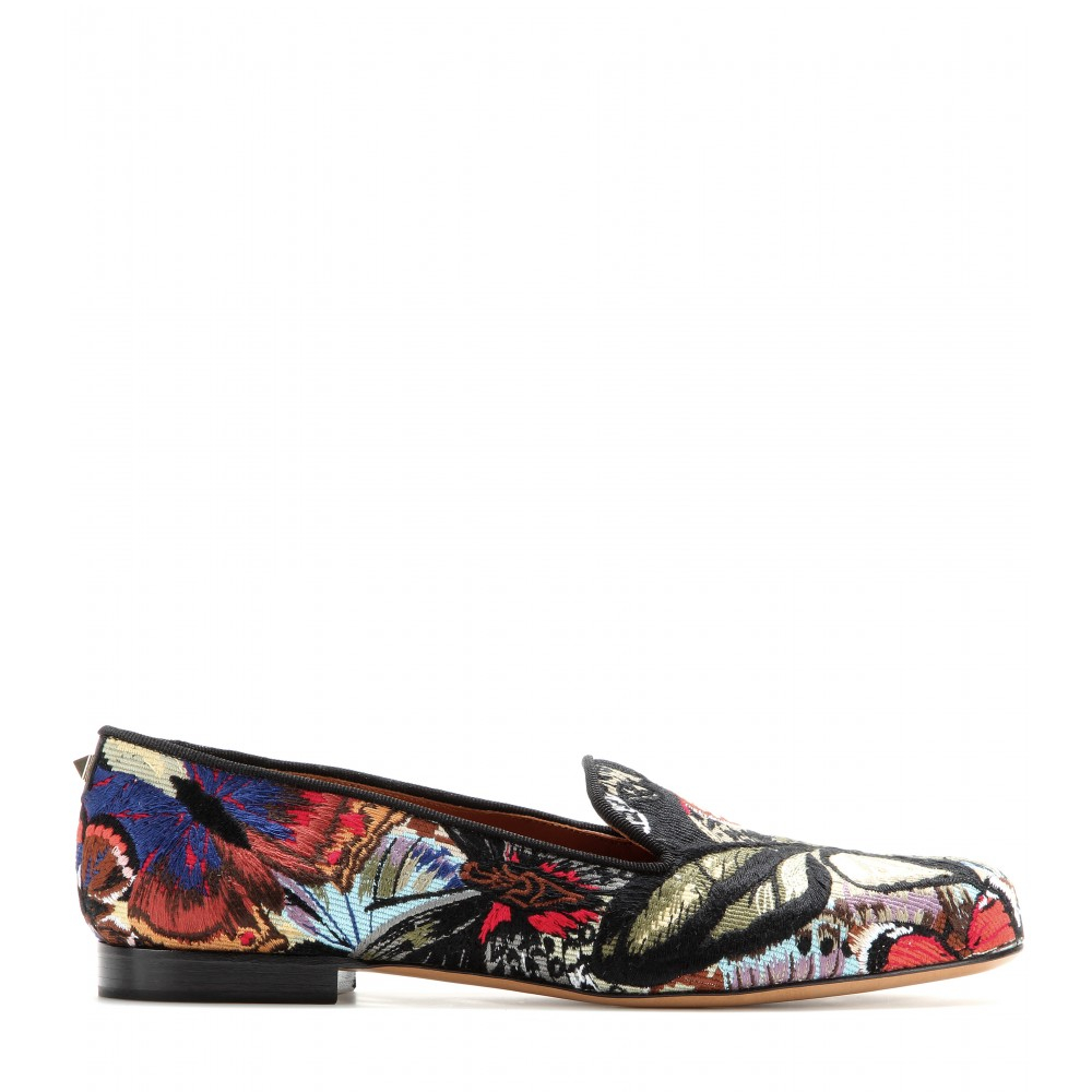 Valentino Embroidered Slippers | Lyst