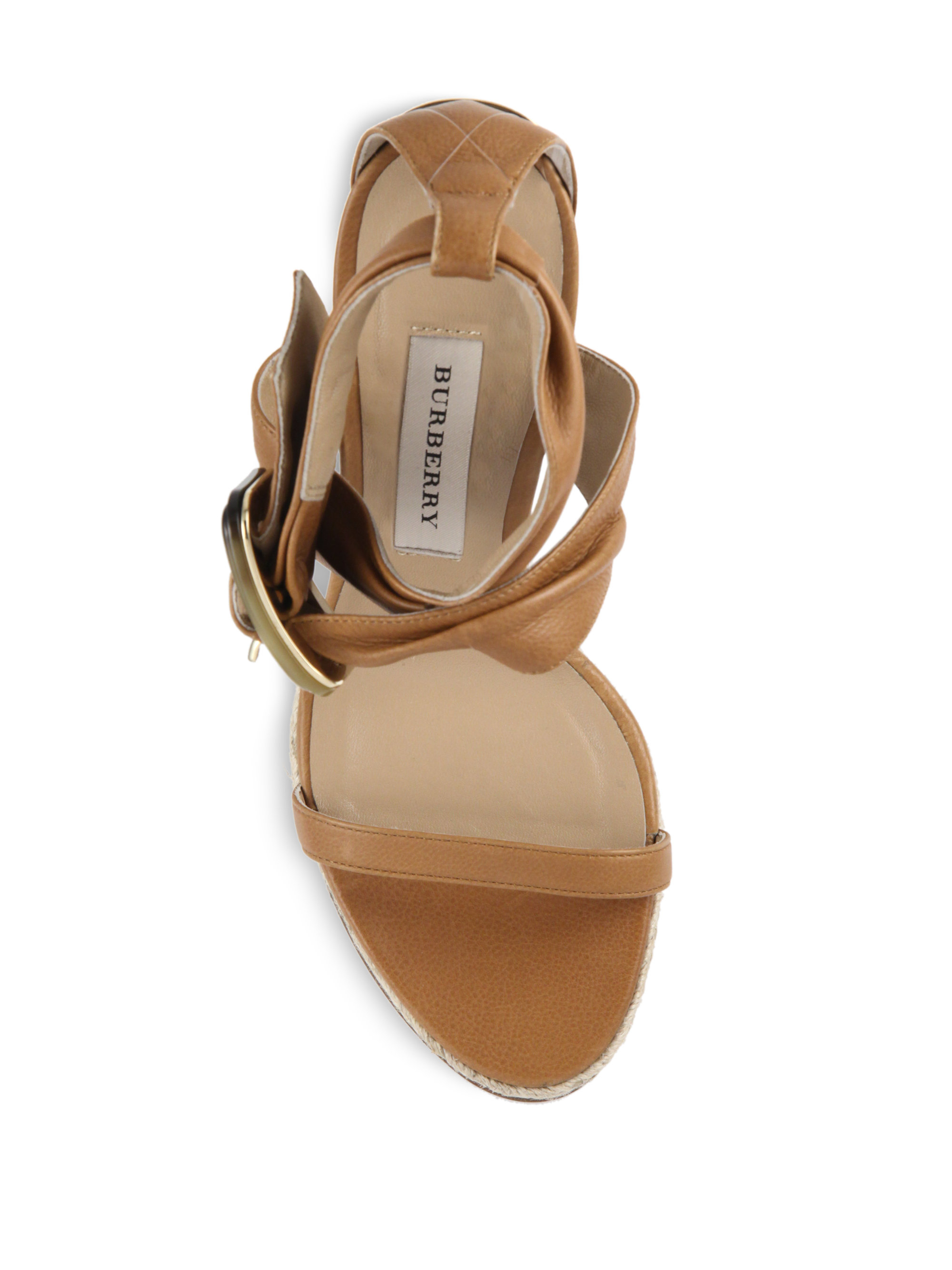0d4fd9382c7 Burberry Brown Catsbrook Leather Espadrille Wedge Sandals