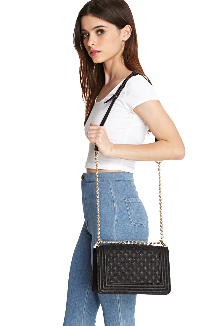Lyst - Forever 21 Quilted Faux Leather Crossbody in Black e50d8df34d826