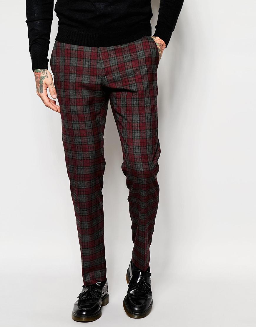 Asos Skinny Suit Trousers In Tartan Check for Men | Lyst