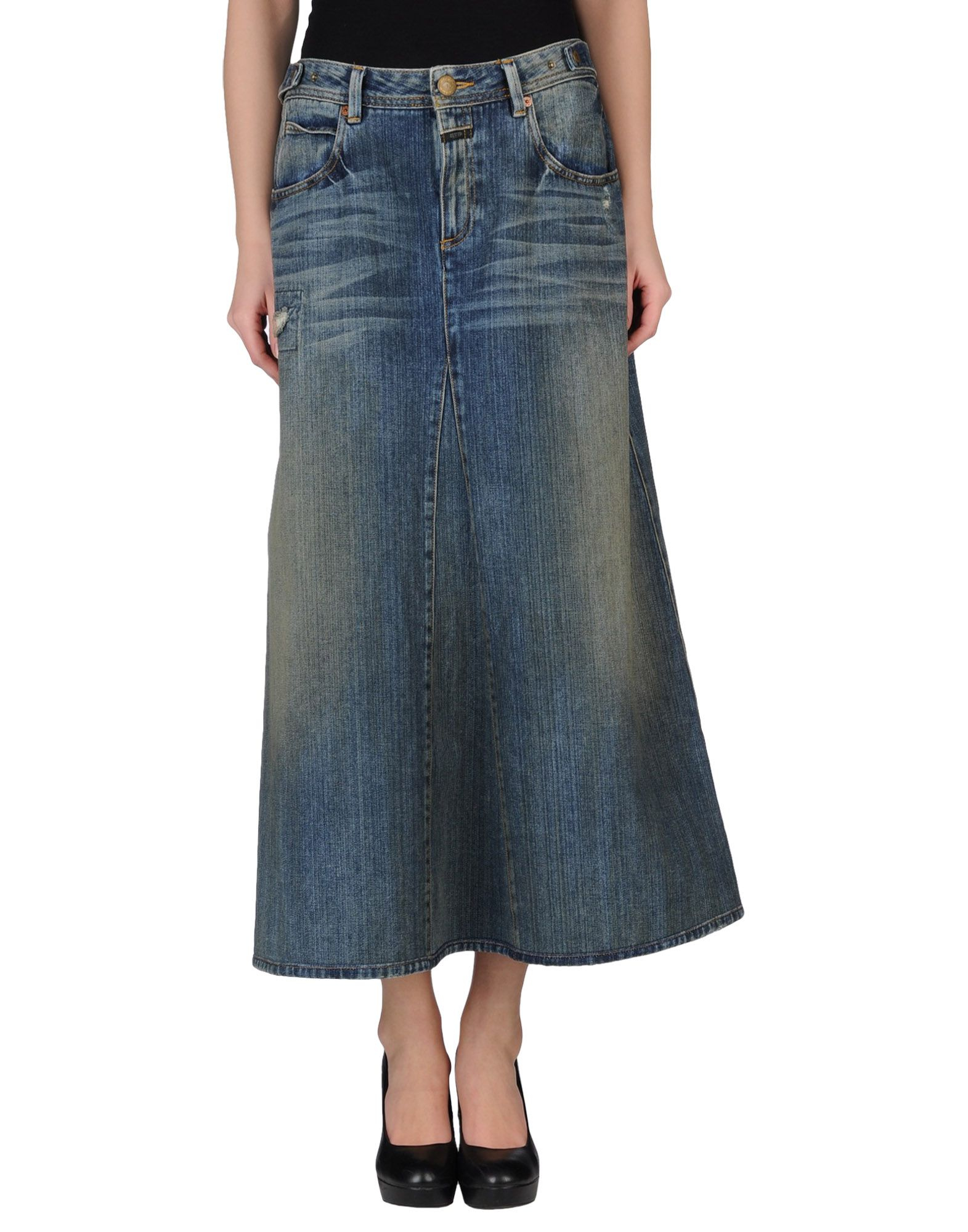 closed mid length denim skirt in blue lyst
