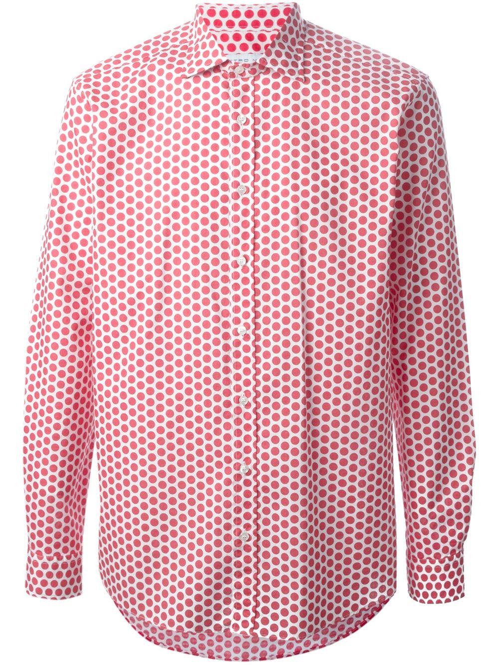 Etro polka dot print shirt in red for men white lyst for White red polka dot shirt