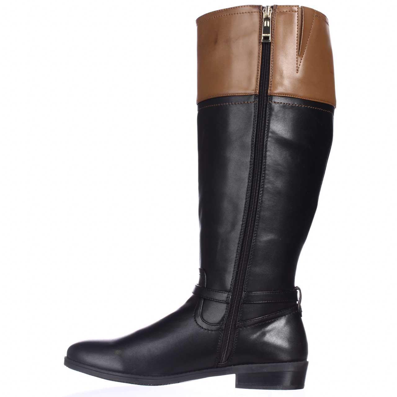 tommy hilfiger drea2 wide calf knee high riding boots in black lyst. Black Bedroom Furniture Sets. Home Design Ideas