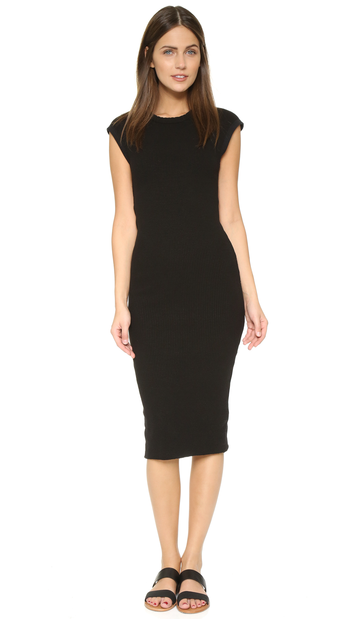 Lyst James Perse Ribbed Cap Sleeve Dress In Black