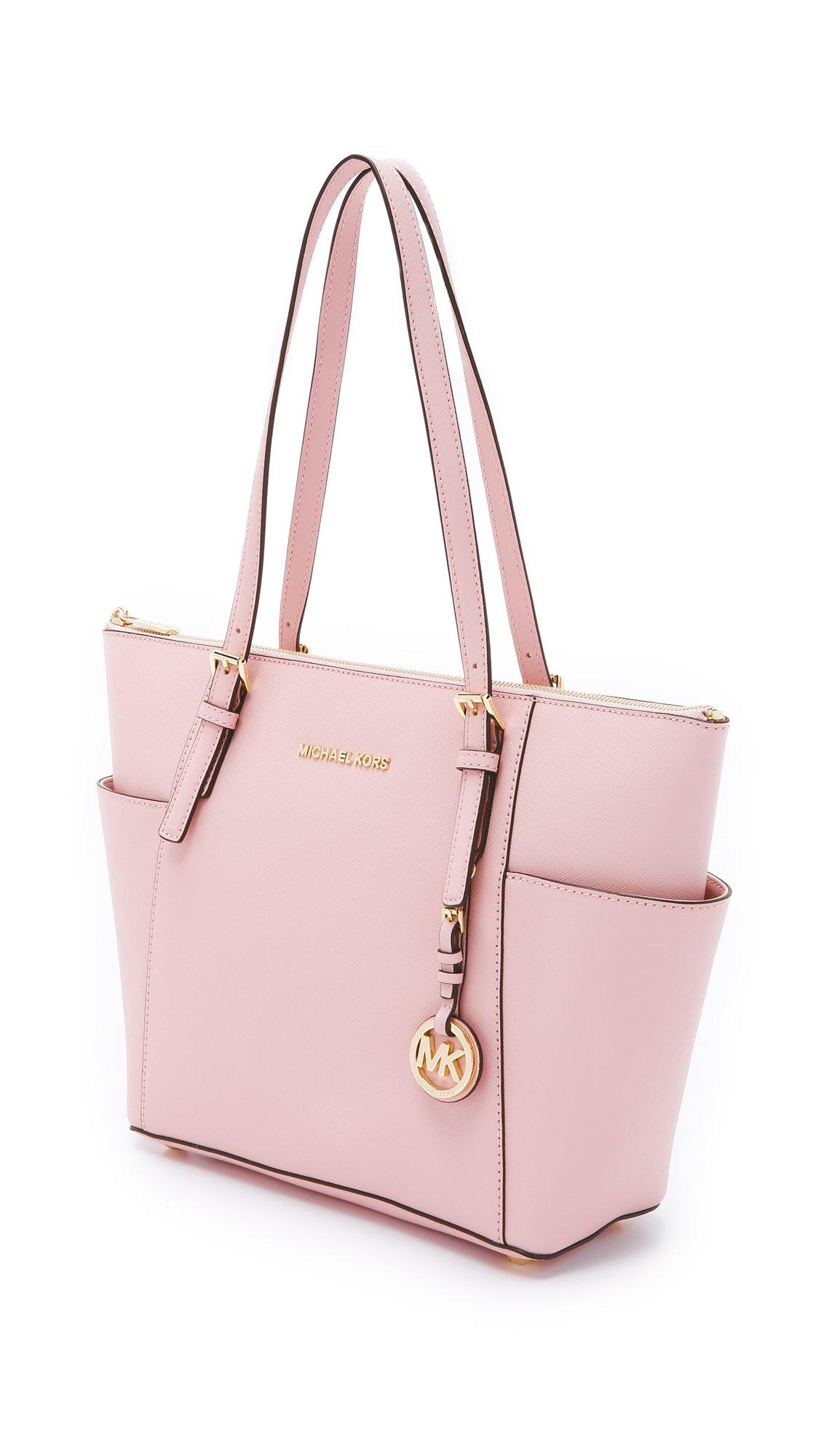 ... shop lyst michael michael kors jet set top zip saffiano tote bag in pink  3b053 d8126 1948c10b517a1