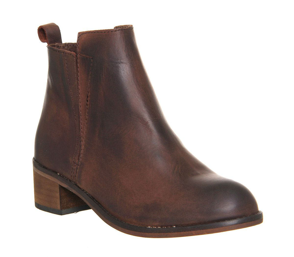 office concept mid heel ankle boot in brown lyst