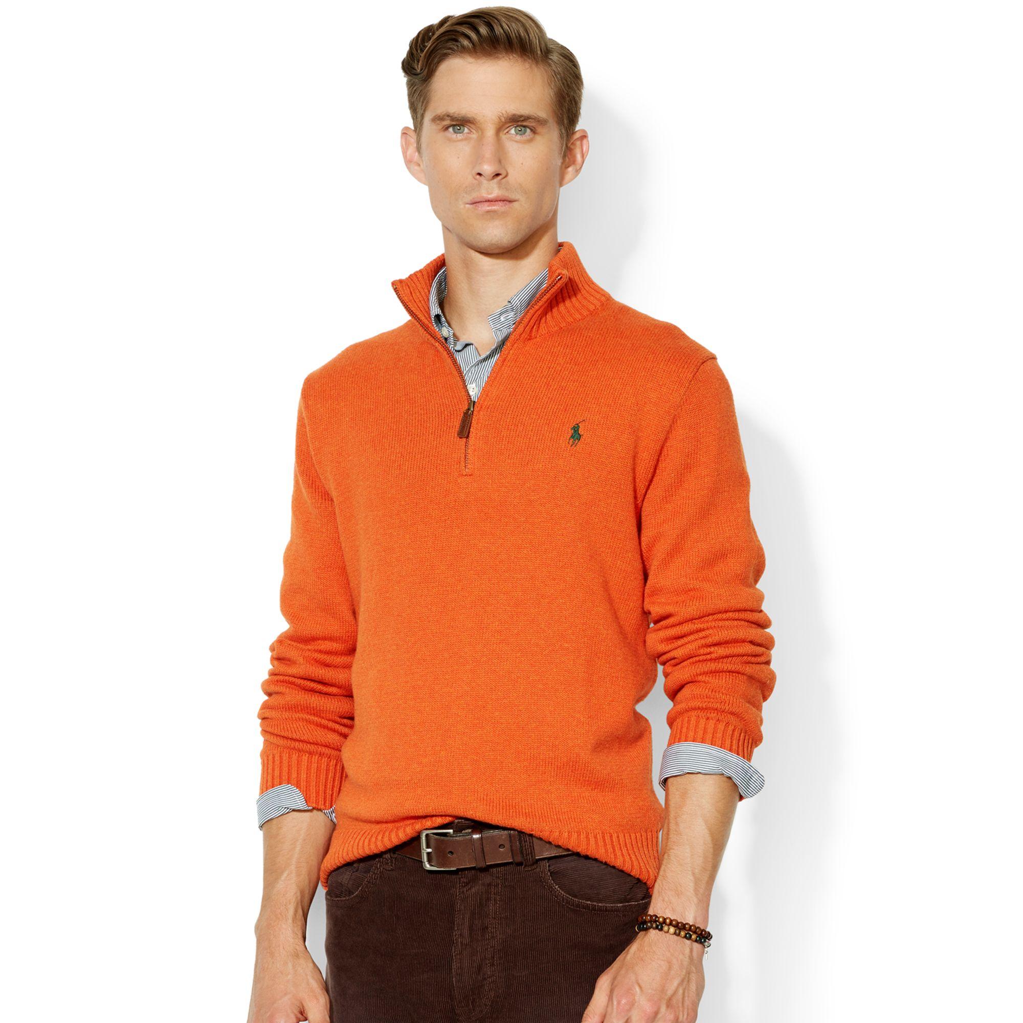 polo ralph lauren high twist cotton half zip mockneck sweater in. Black Bedroom Furniture Sets. Home Design Ideas