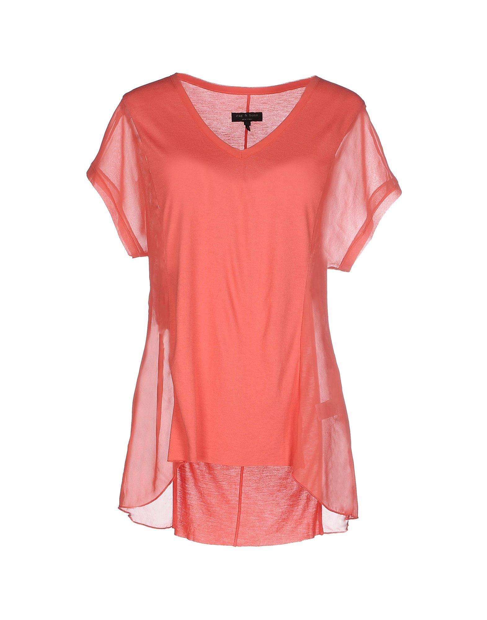 Rag bone t shirt in pink lyst for Rag and bone mens shirts sale