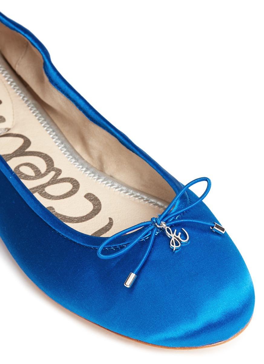 Sam Edelman Felicia Satin Ballet Flats In Blue Lyst