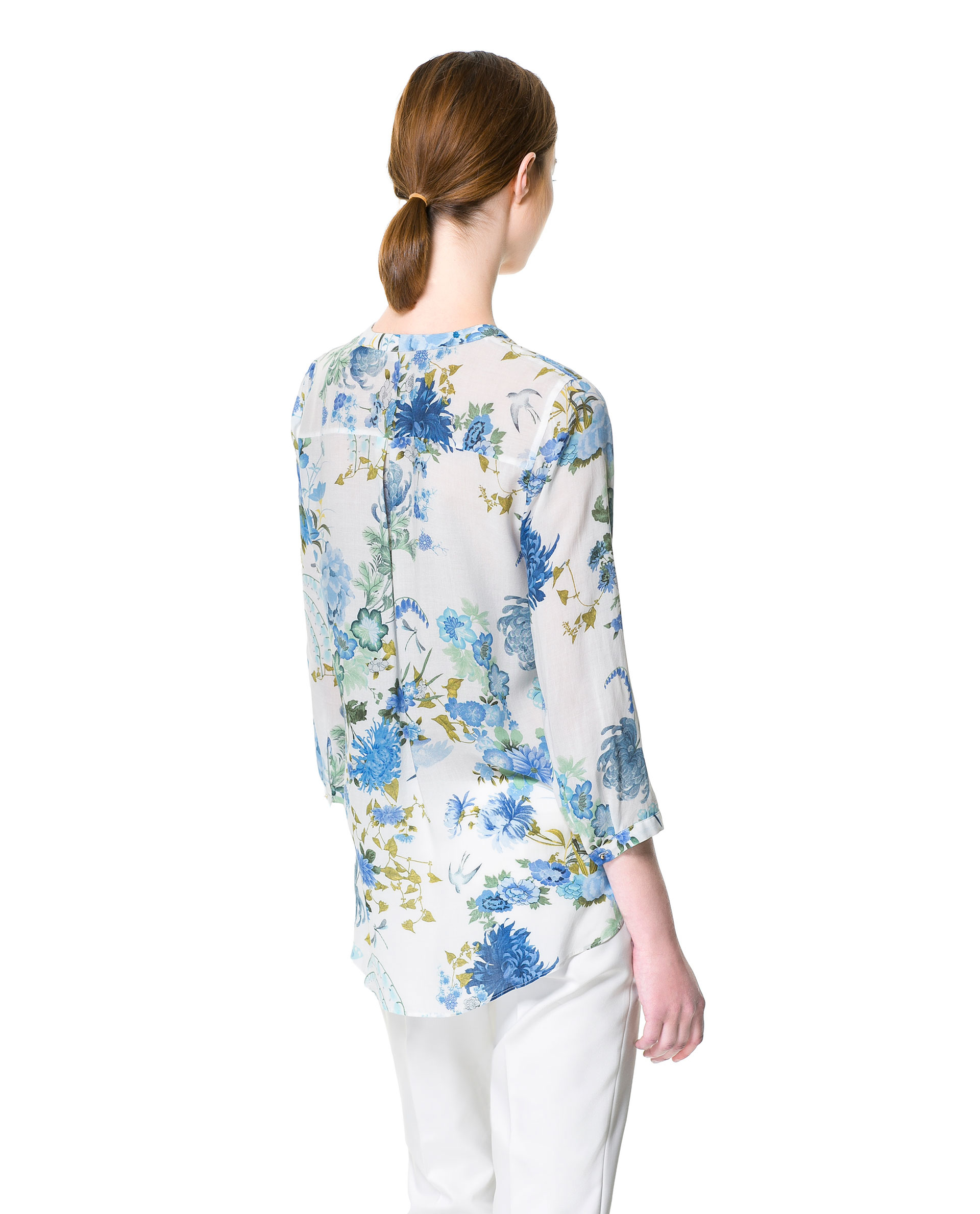 Zara Blue And White Floral Blouse 49