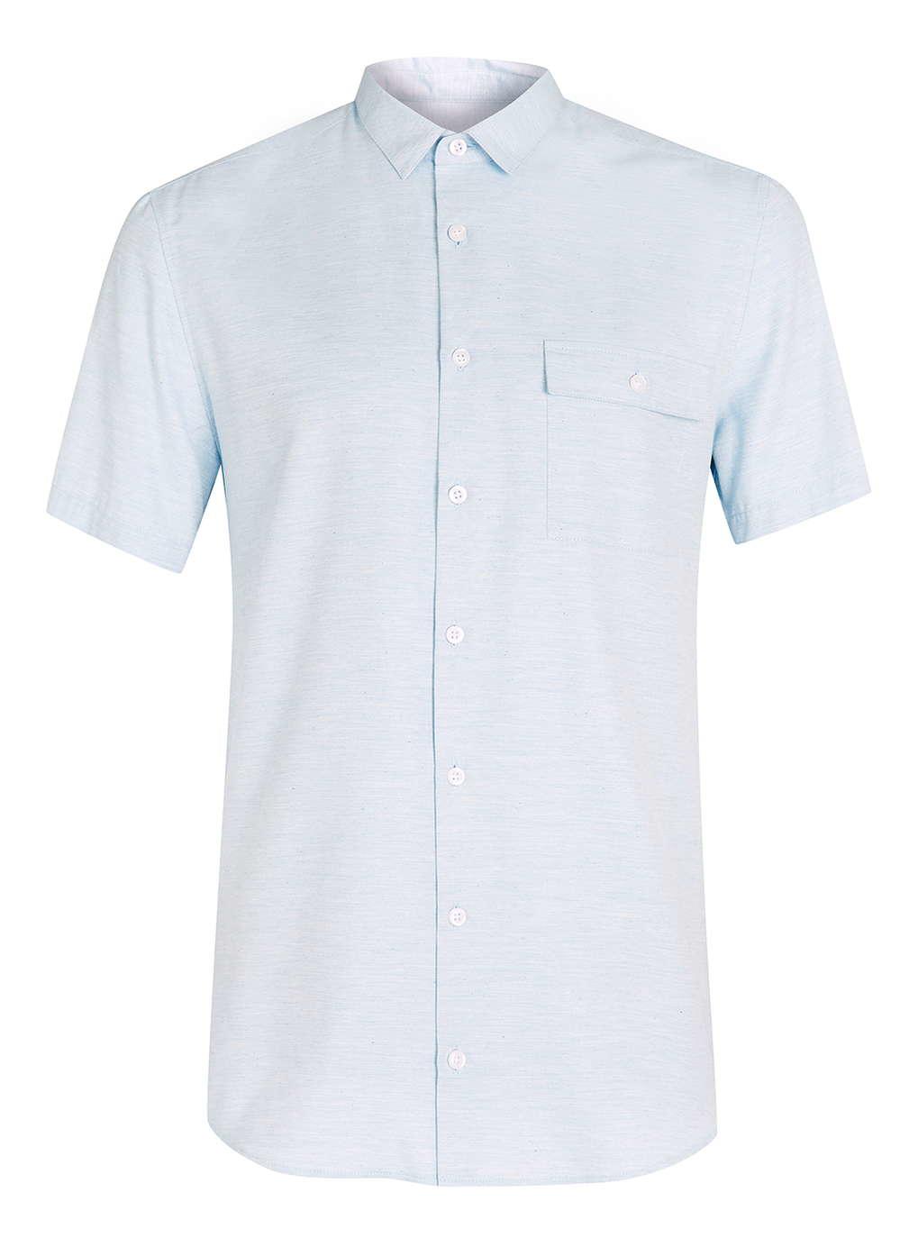 Topman light blue melange short sleeve casual shirt in for Light blue short sleeve shirt mens