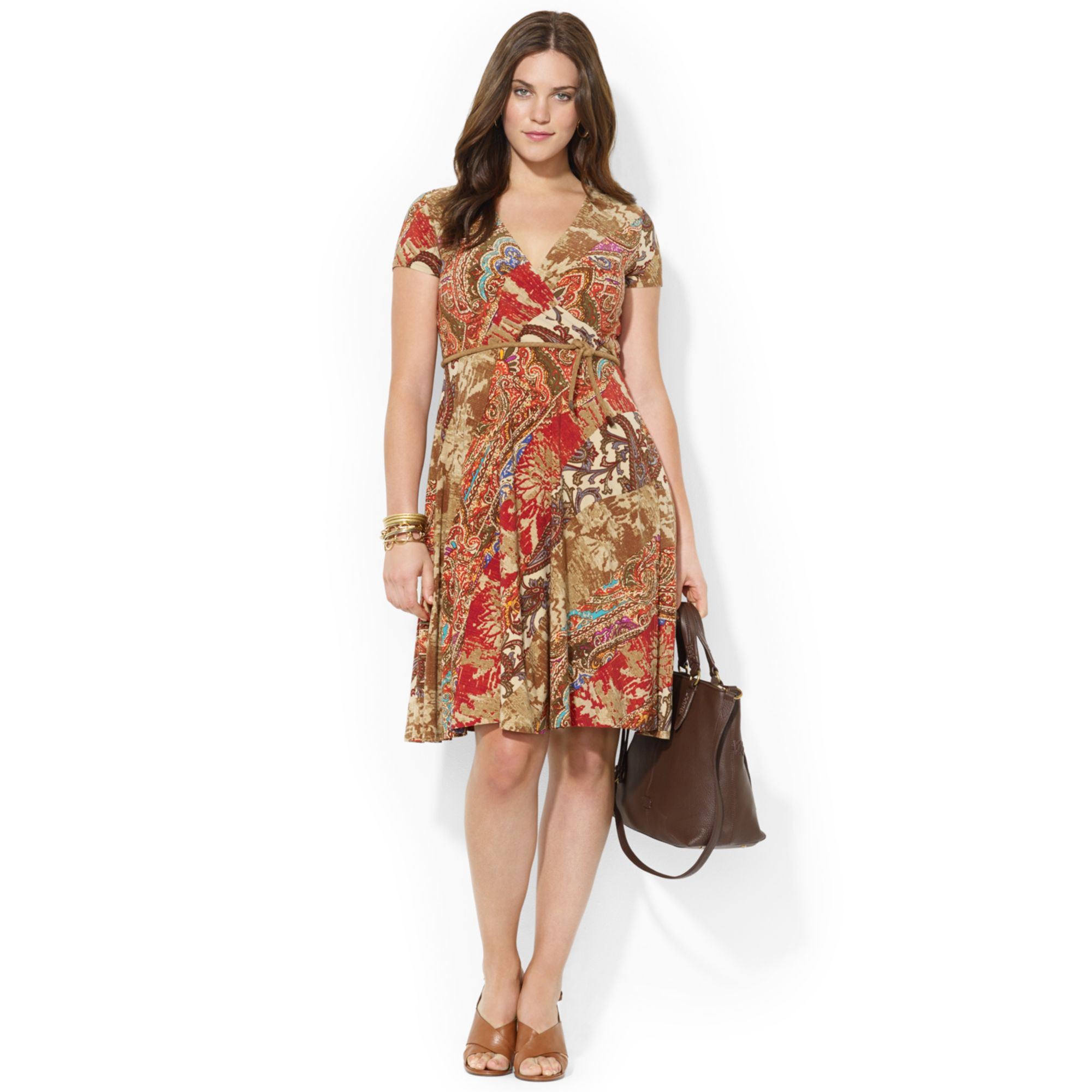 by ralph plus size belted patchworkprint