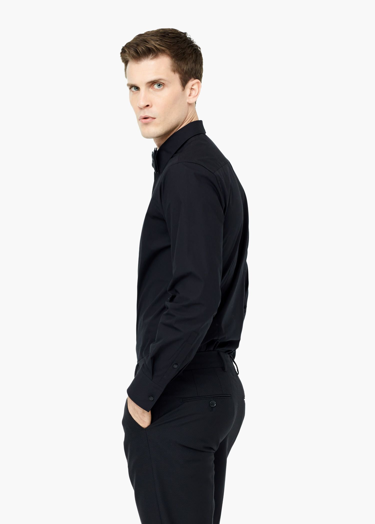 Lyst mango slim fit cotton shirt in black for men for Slim fit cotton shirts
