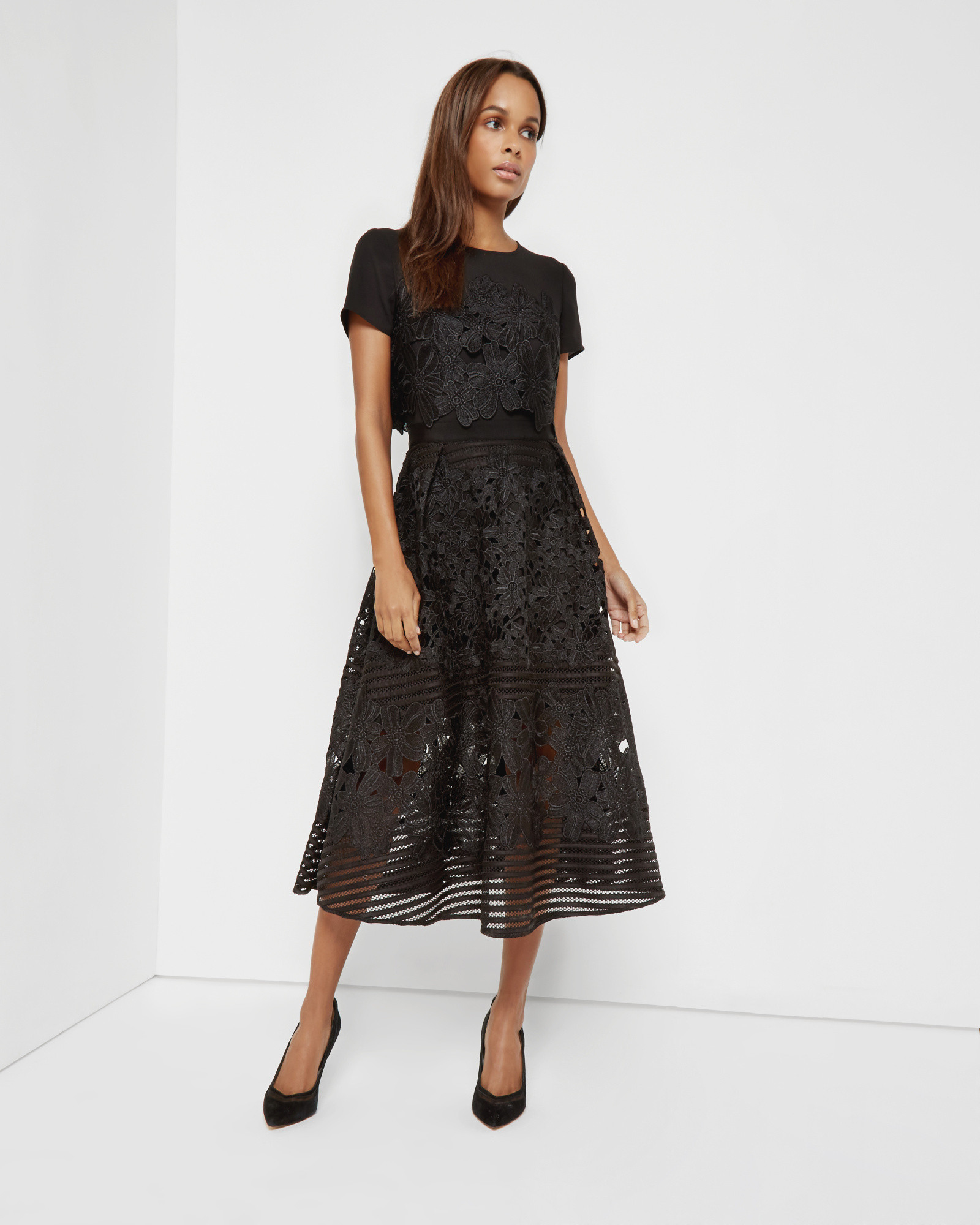 Ted Baker Jenelle Lace Midi Dress In Black Lyst