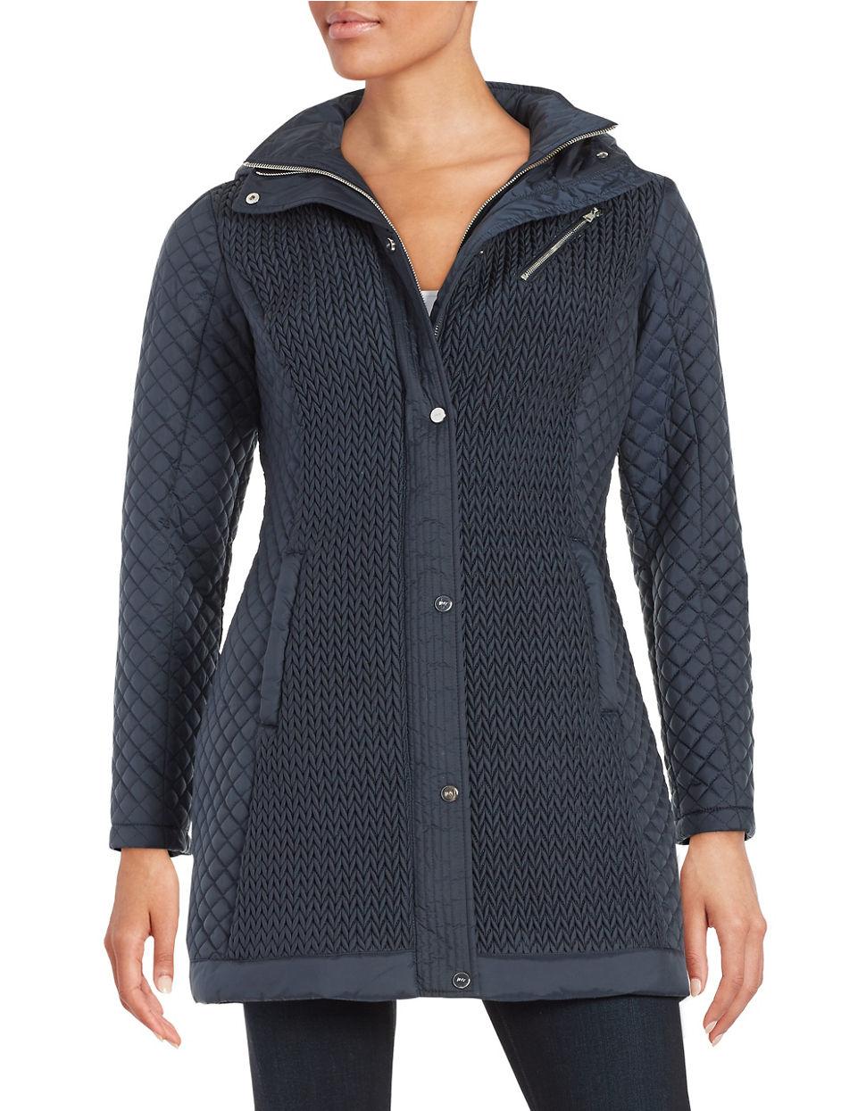 Jones New York Quilted Zip Front Jacket In Blue Lyst