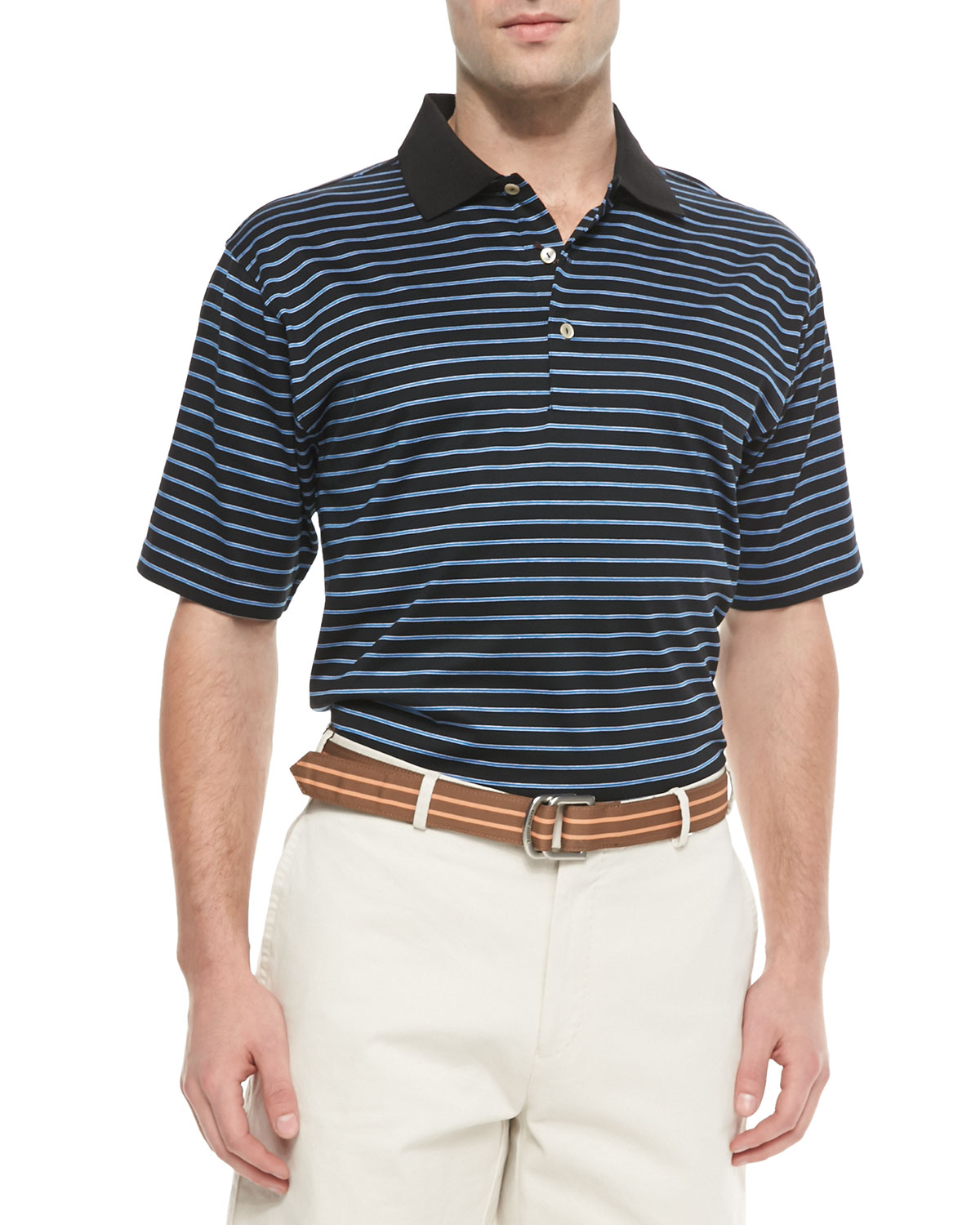 Peter millar thin striped cotton polo shirt in multicolor for Peter millar women s golf shirts