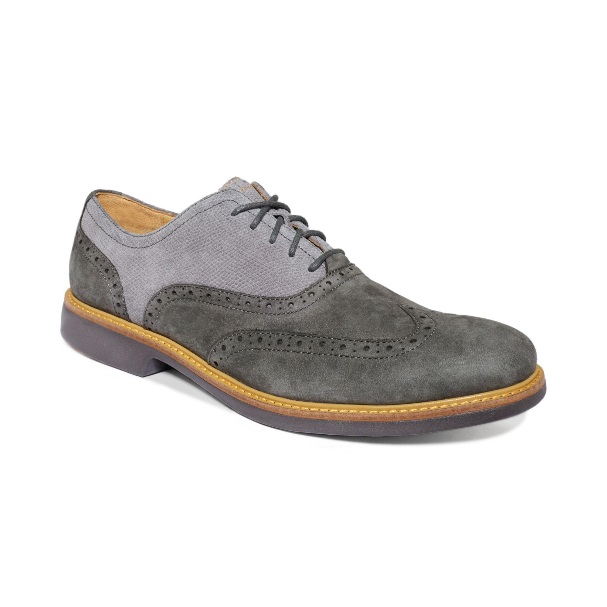 Cole Haan Great Jones Wingtip Shoes In Gray For Men (Dark