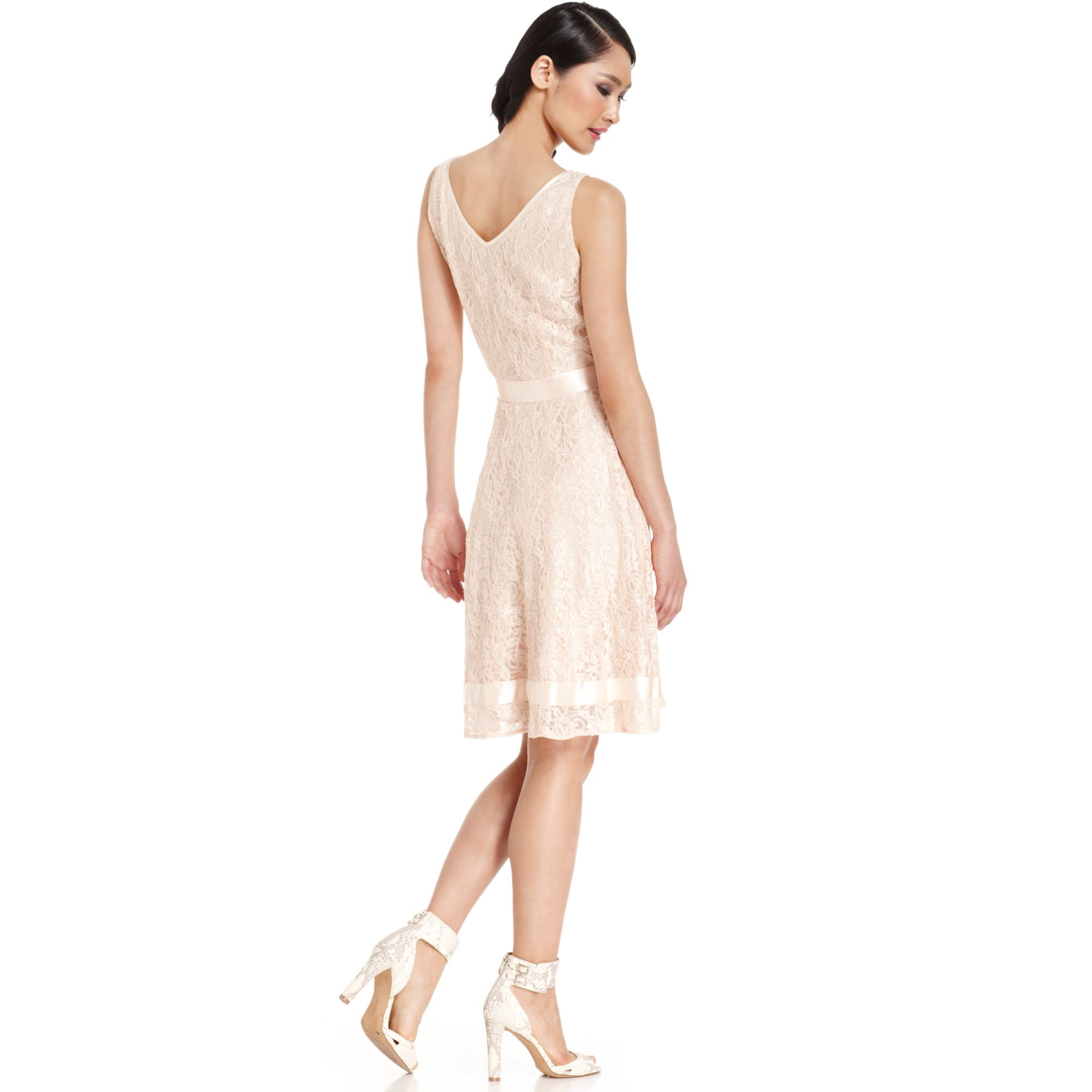Tahari By Asl Sleeveless Lace Ribbontrim Dress In Oyster