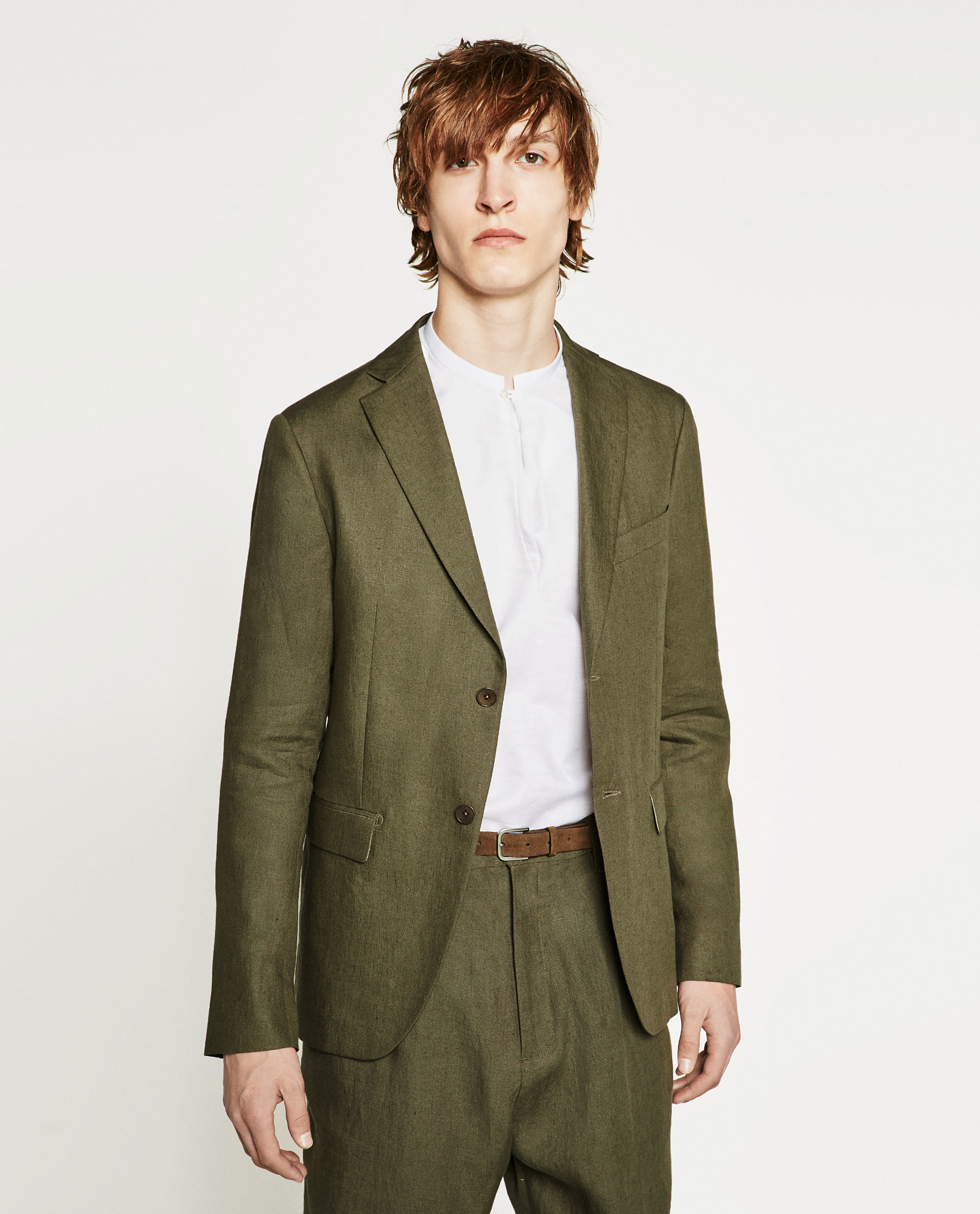 zara linen suit blazer in green for men lyst. Black Bedroom Furniture Sets. Home Design Ideas