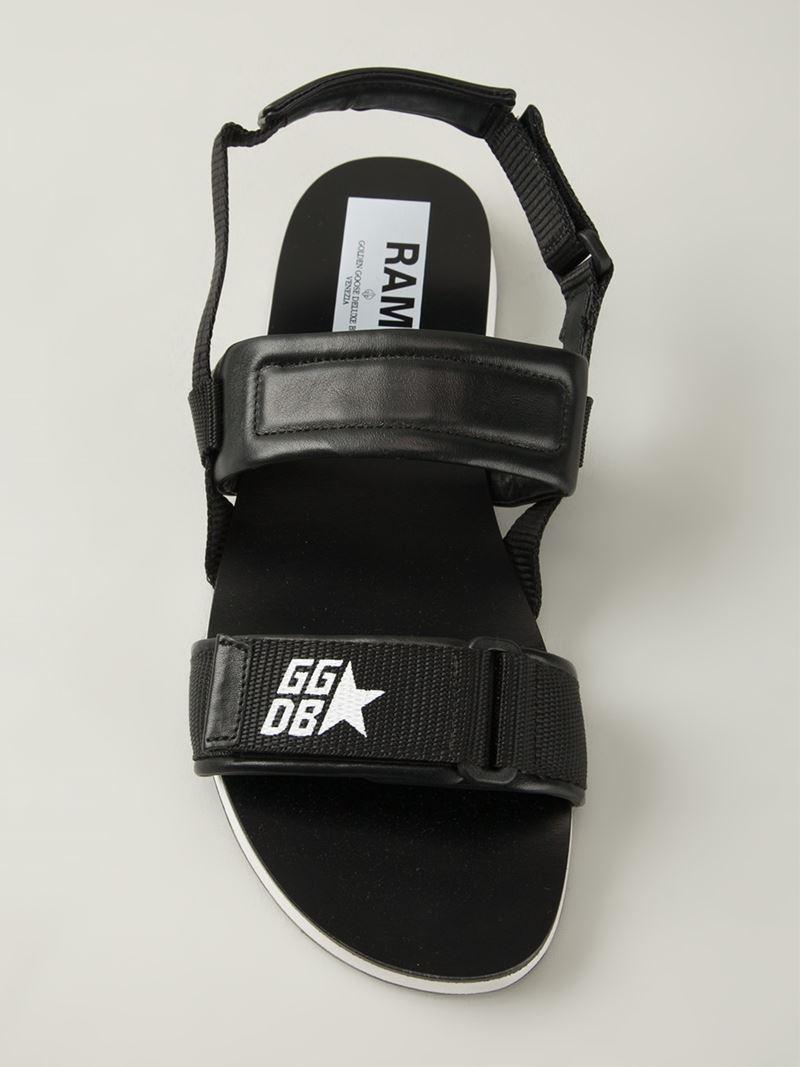 Golden Goose Deluxe Brand Velcro Strap Sandals In Black