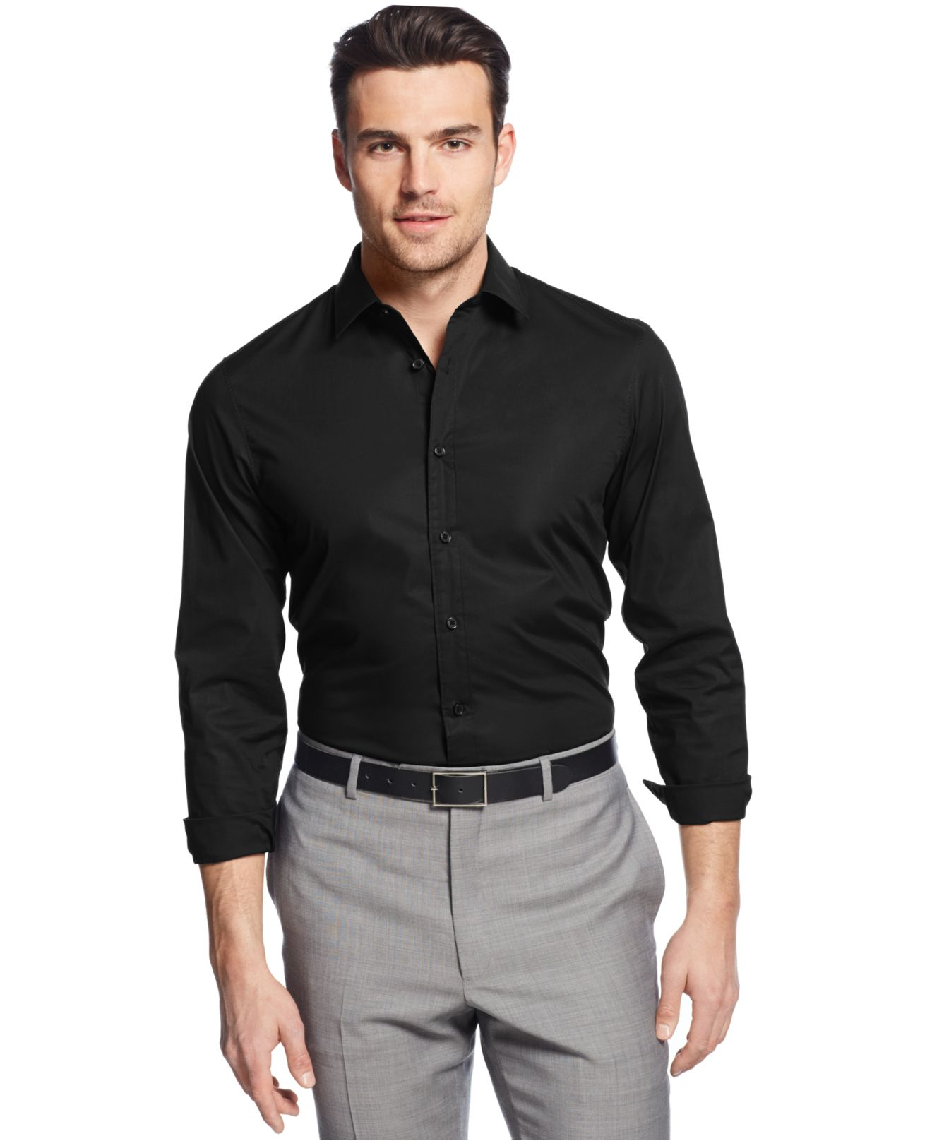 Lyst - Michael kors Tailored-Fit Shirt in Black for Men
