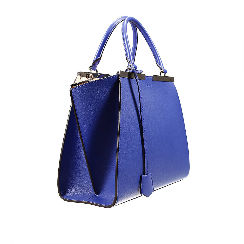 Fendi Handbag Bag 3 Jours Small Leather Contrast Inside in Blue | Lyst
