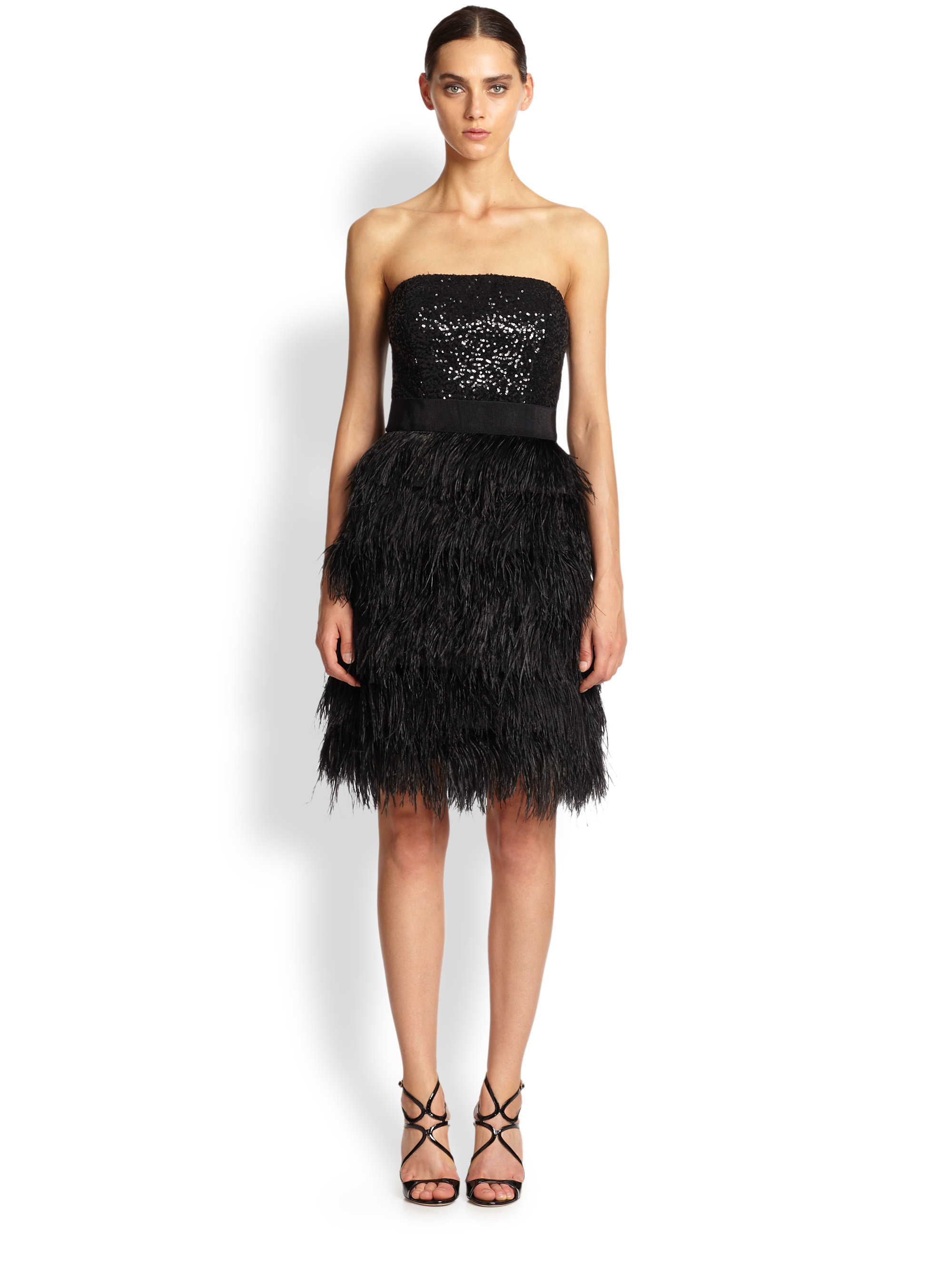 Lyst Milly Strapless Sequin Amp Ostrich Feather Dress In Black